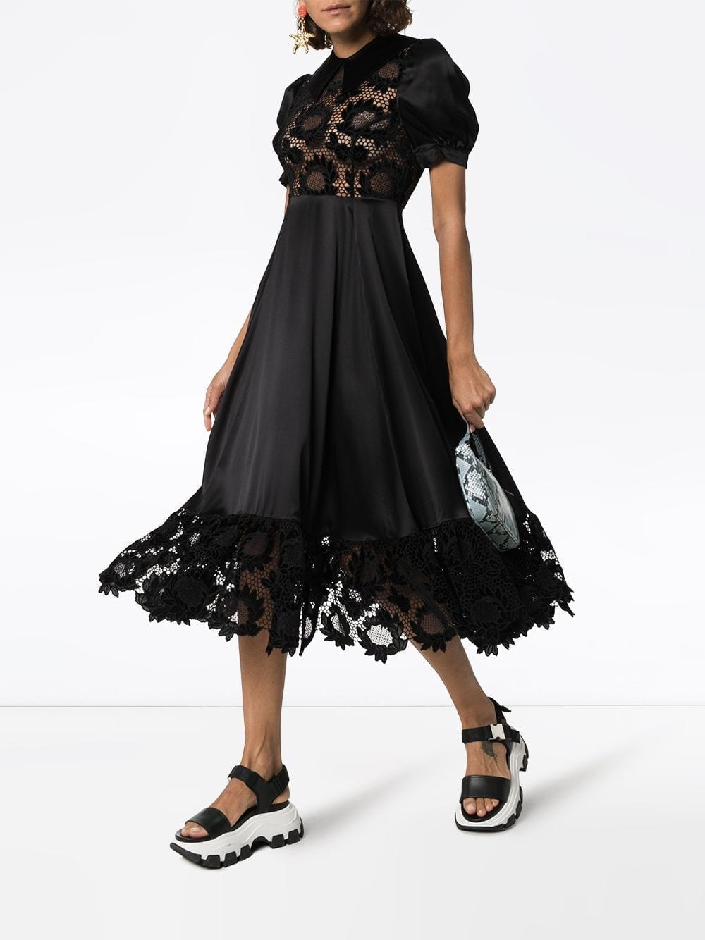 SHRIMPS Lace-panel Silk Midi Dress