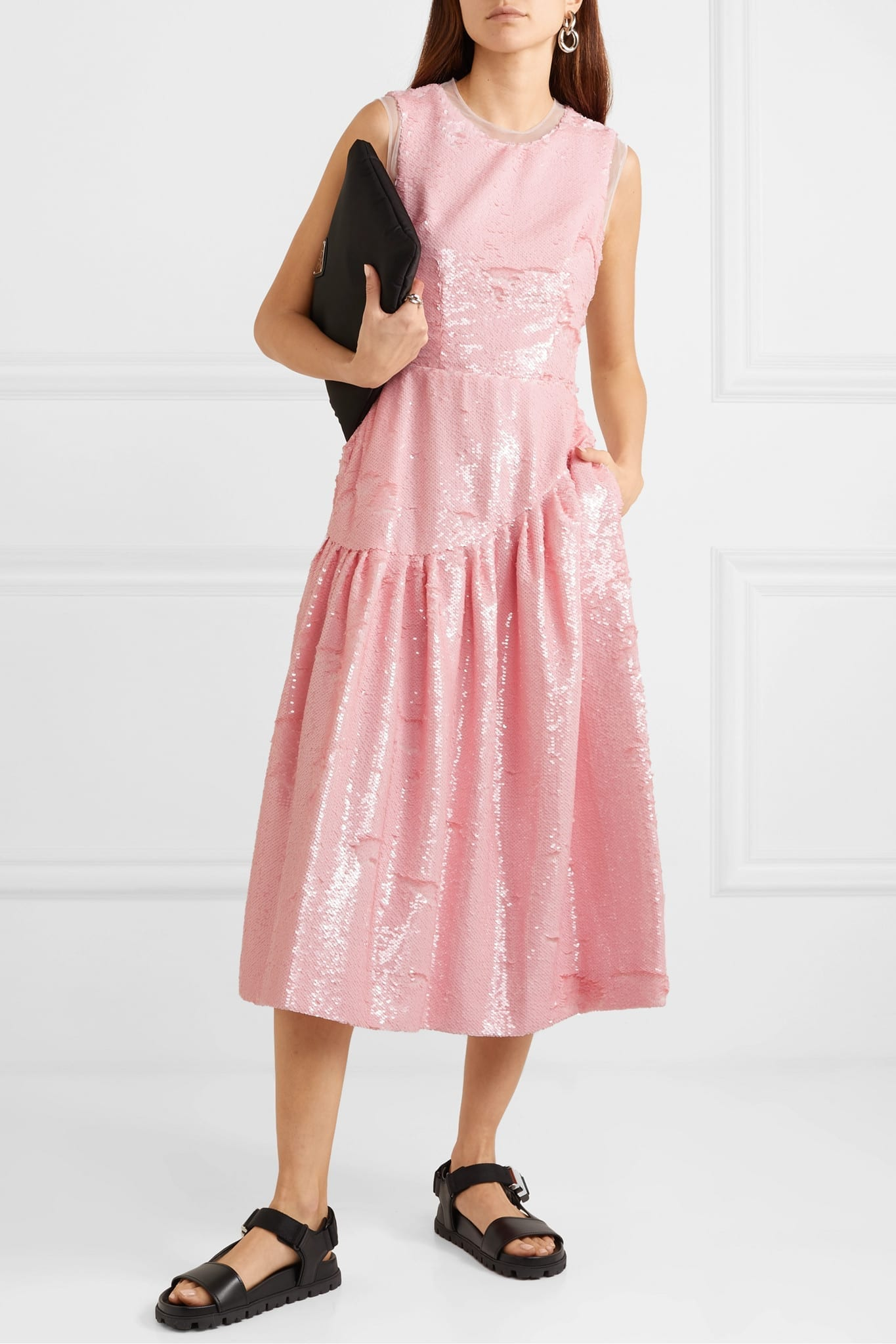 SIMONE ROCHA Frame Sequined Tulle Midi Dress