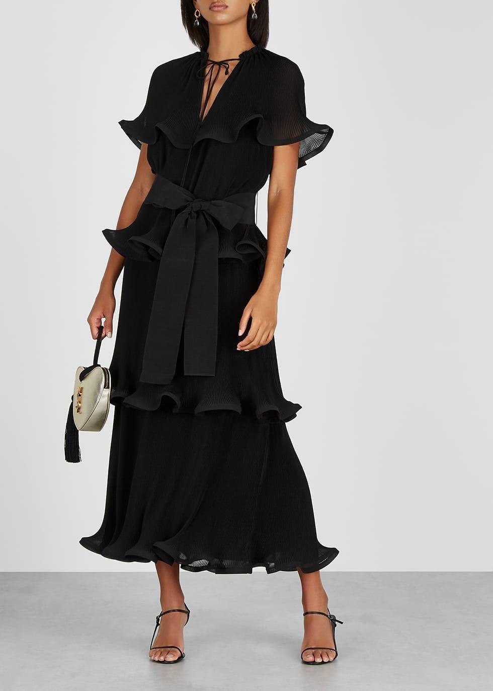STELLA MCCARTNEY Black Tiered Plissé Maxi Dress