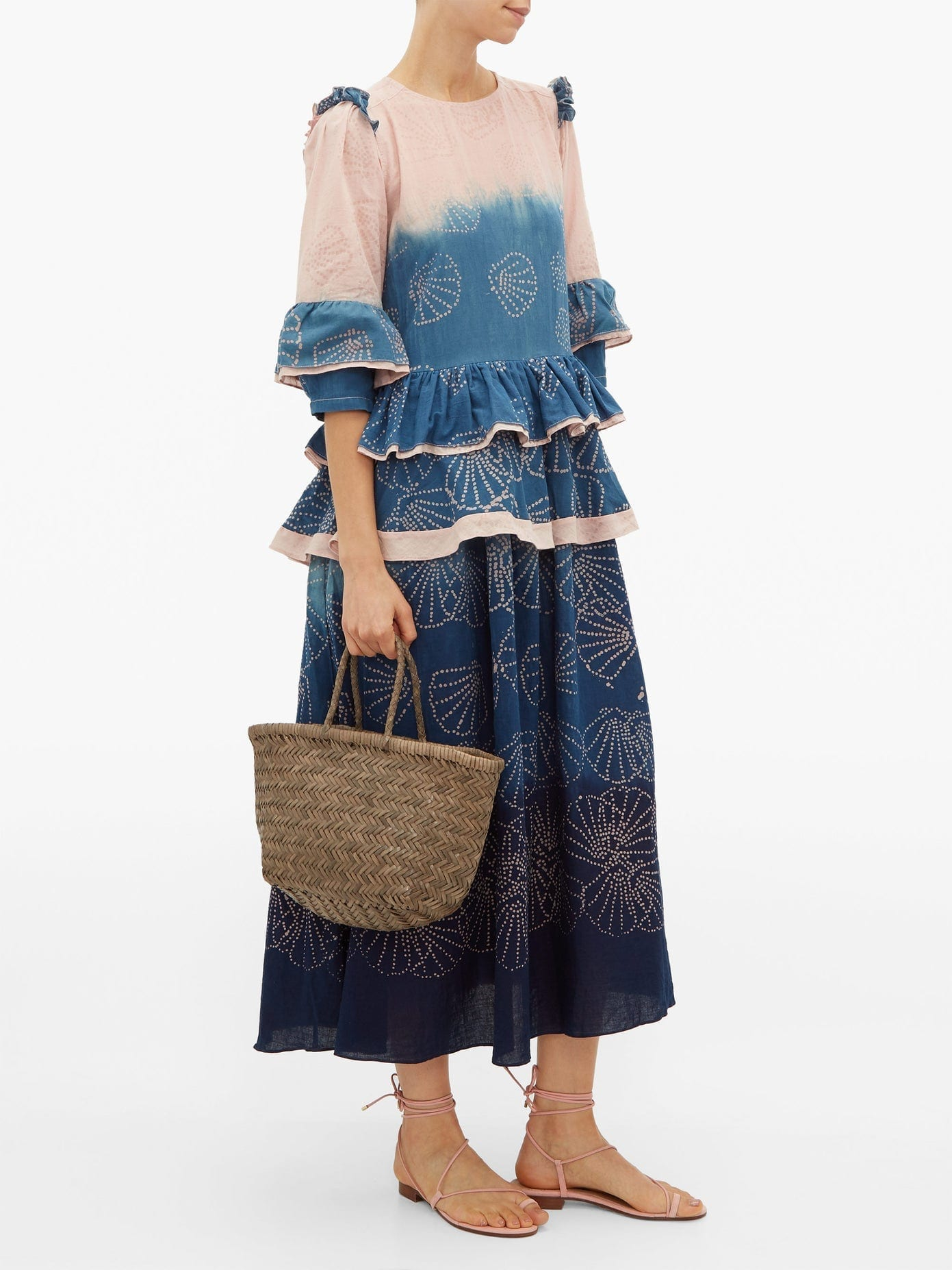 STORY MFG Tulsi Seashell-print Organic-cotton Midi Dress