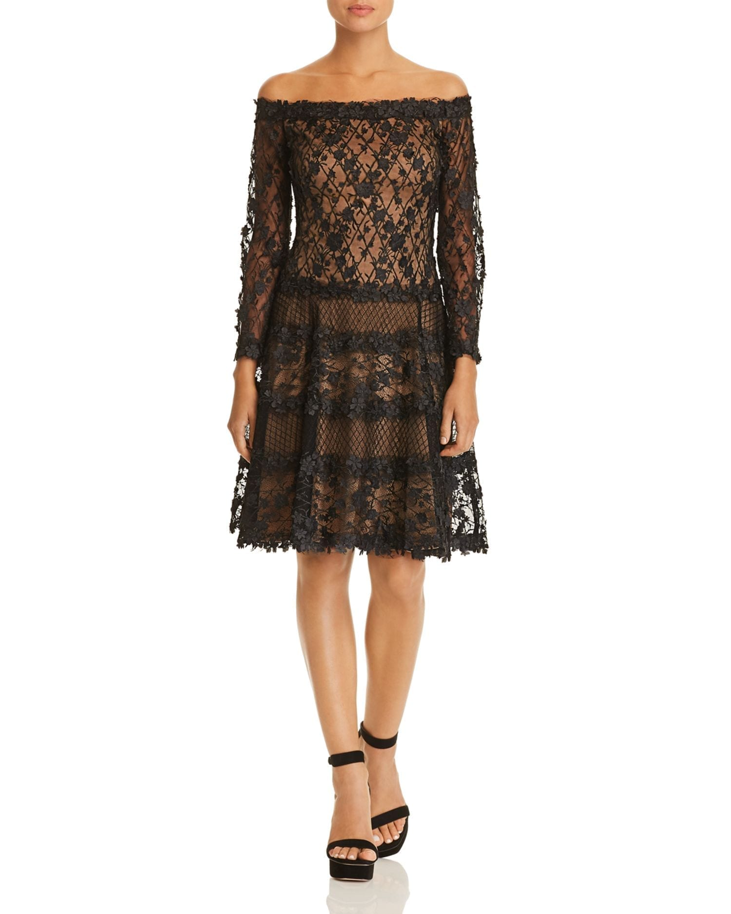 TADASHI SHOJI Floral Embellished Off-the-Shoulder Dress