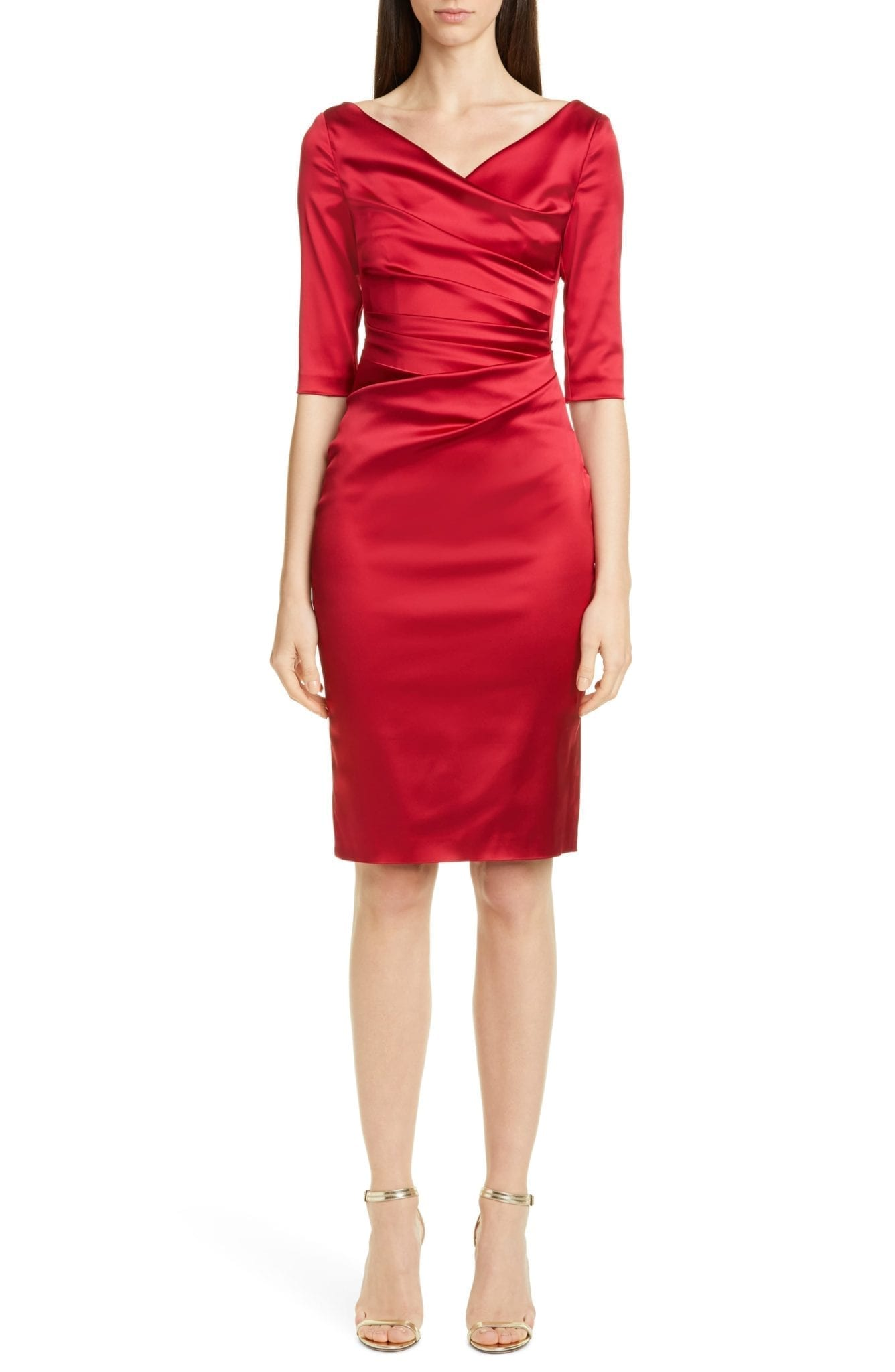 TALBOT RUNHOF Stretch Duchess Satin Sheath Dress