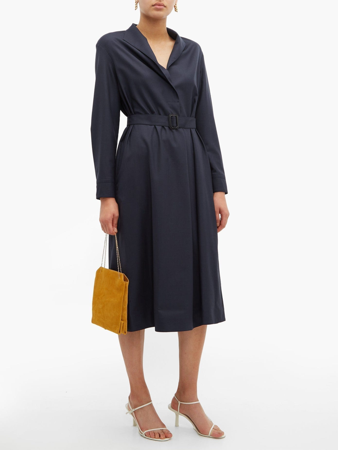 THE ROW Tula Belted Wool Shirt Dress