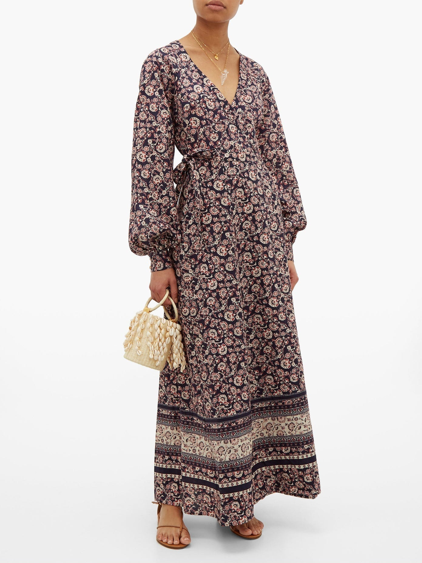 THE UPSIDE Kate Paisley And Floral Linen-blend Wrap Dress