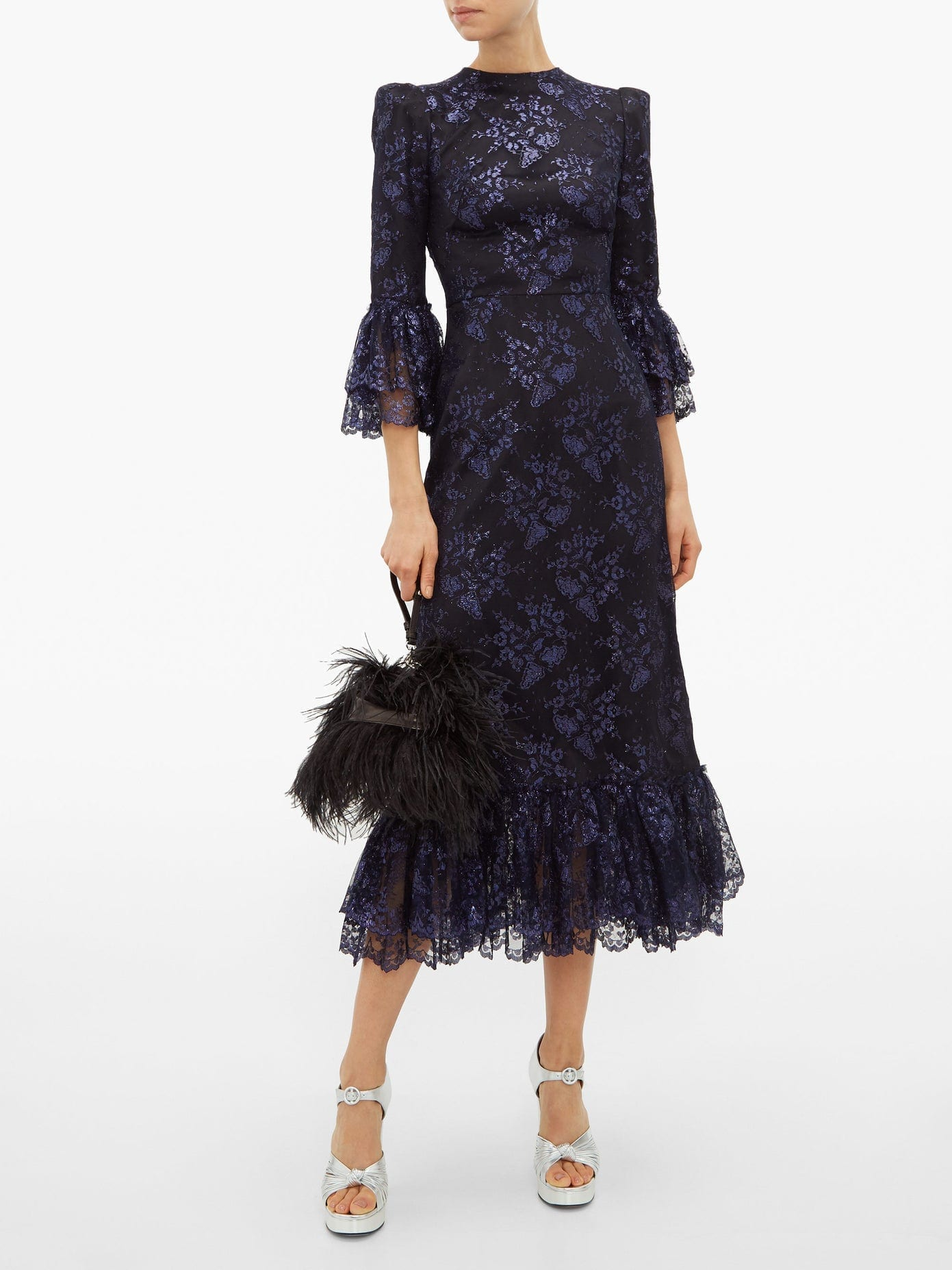 THE VAMPIRE'S WIFE The Wild Flower Metallic Floral-lace Midi Dress