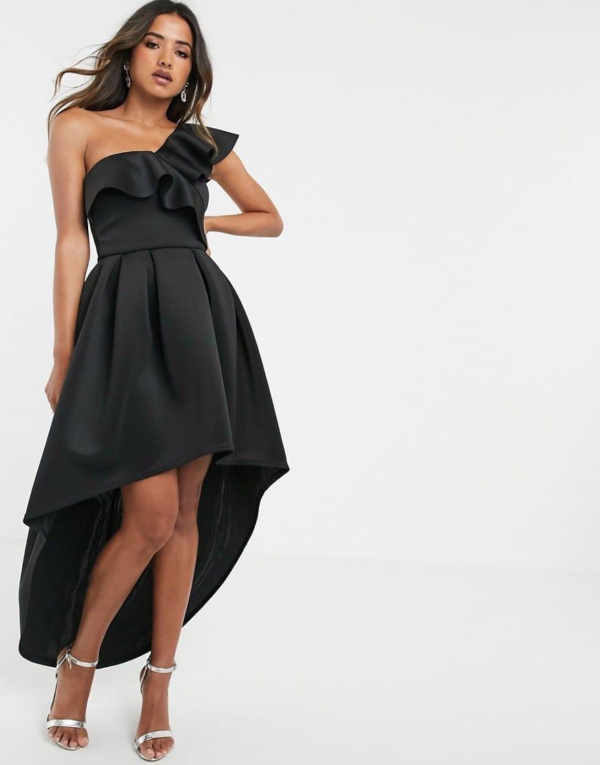TRUE VIOLET Frill One Shoulder High Low Prom Maxi Dress
