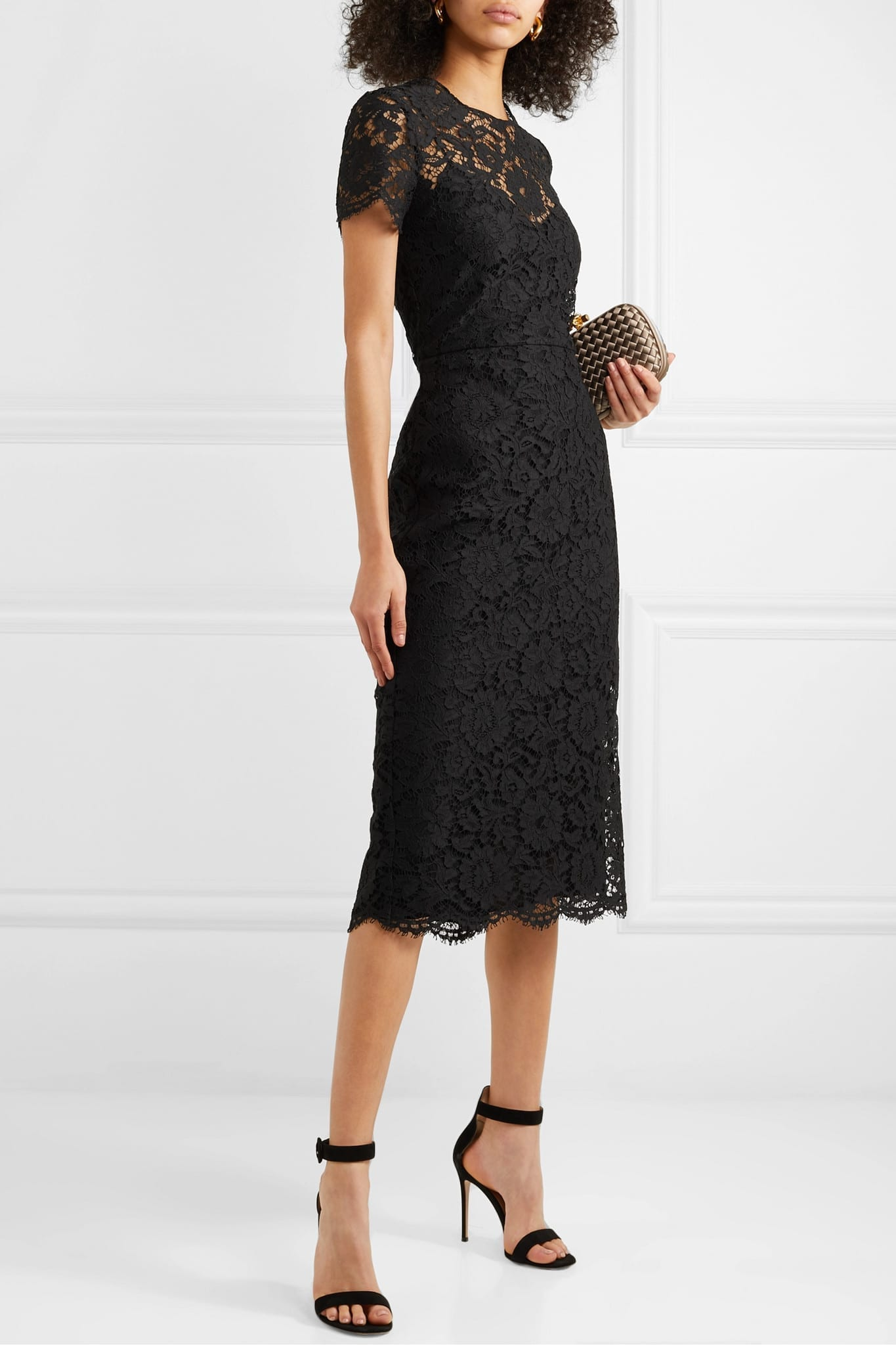 VALENTINO Corded Lace Midi Dress