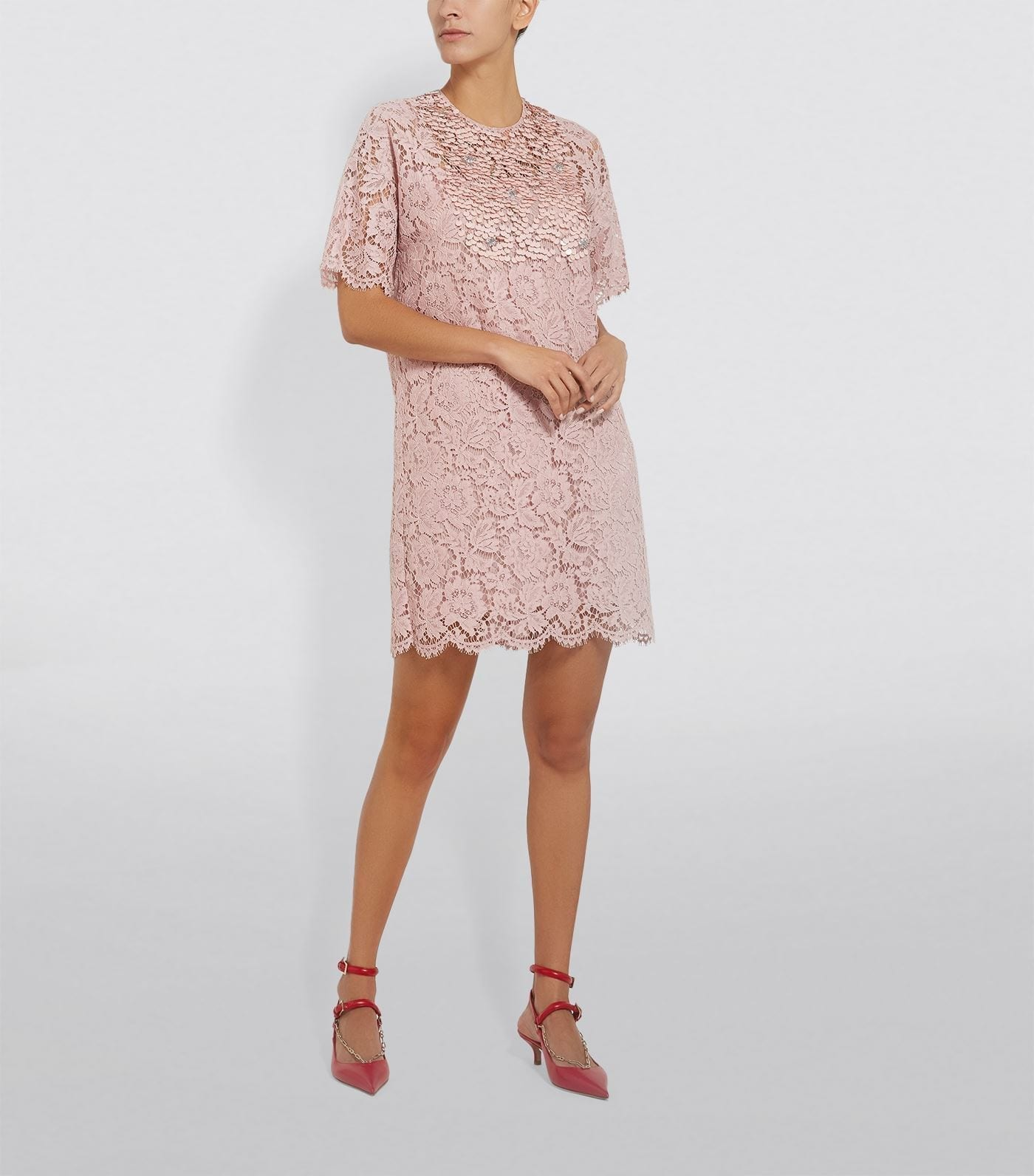 VALENTINO Floral Lace Mini Dress