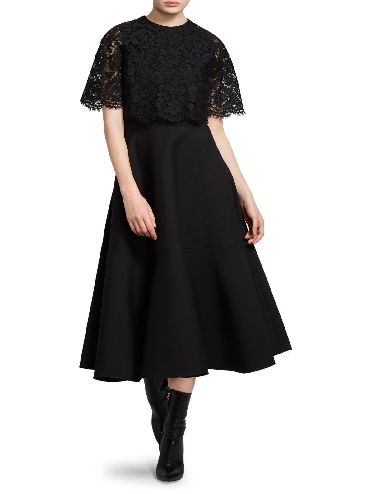 VALENTINO Lace Capelet Virgin Wool & Silk Crepe Dress