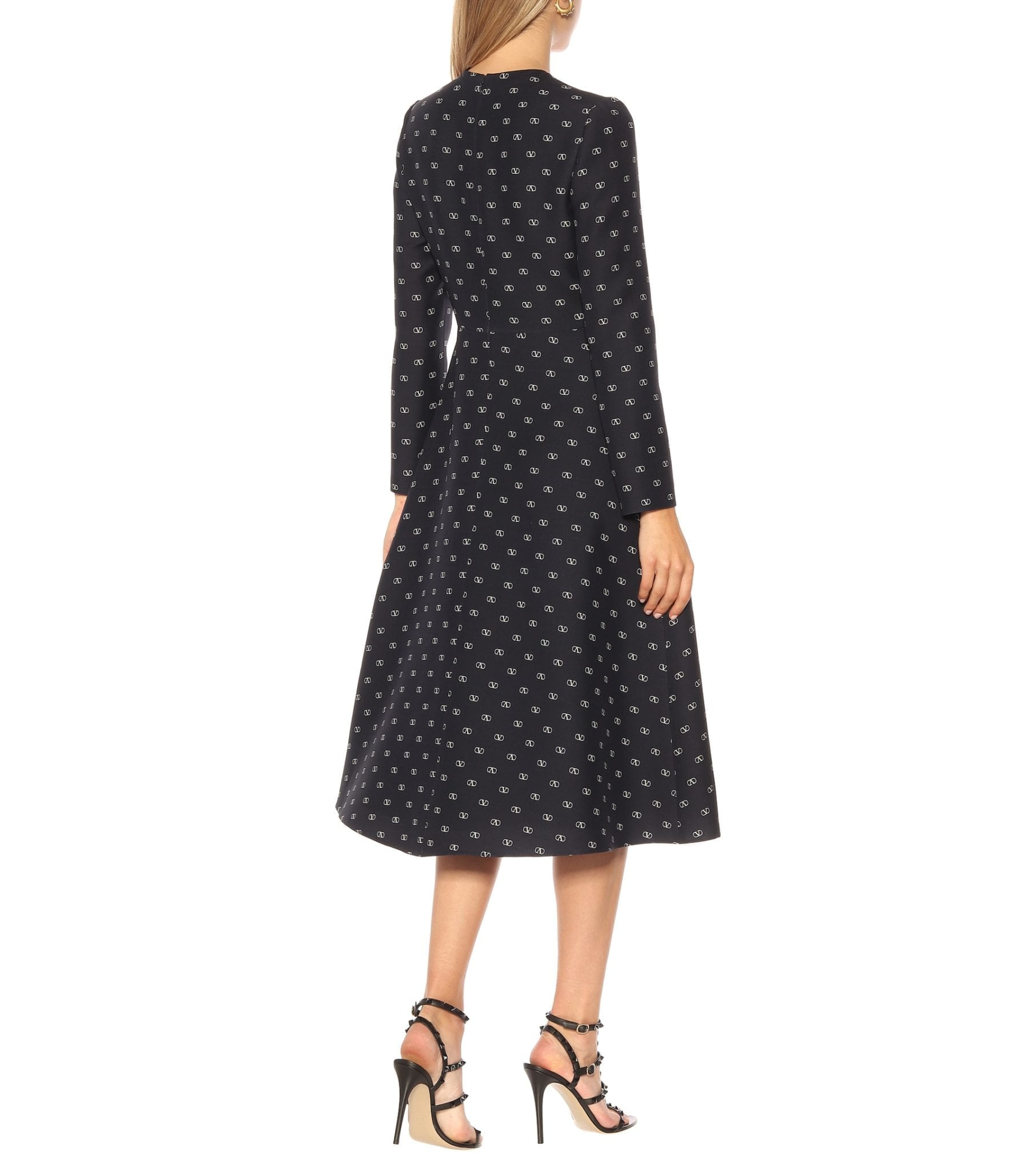VALENTINO Logo Wool And Silk Crêpe Midi Dress