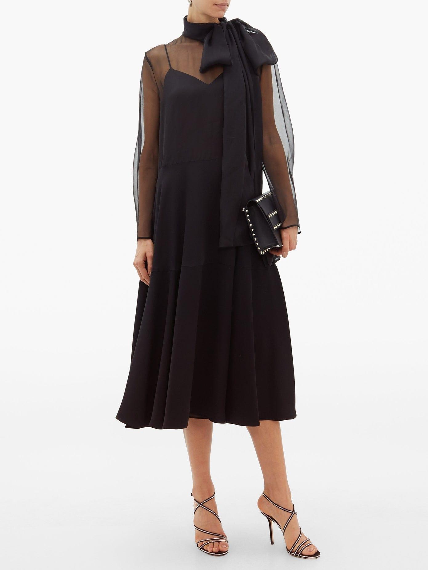 VALENTINO Pussy-bow Silk-organza And Cady Dress