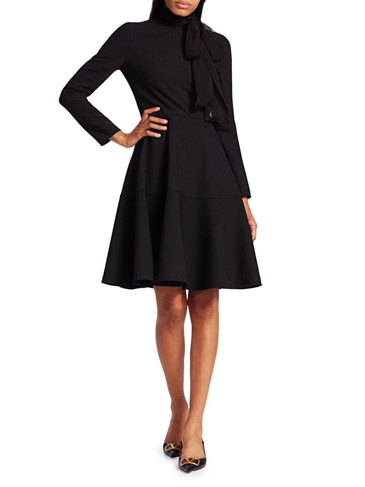 VALENTINO Techno Tieneck Wool-Blend Fit-&-Flare Dress