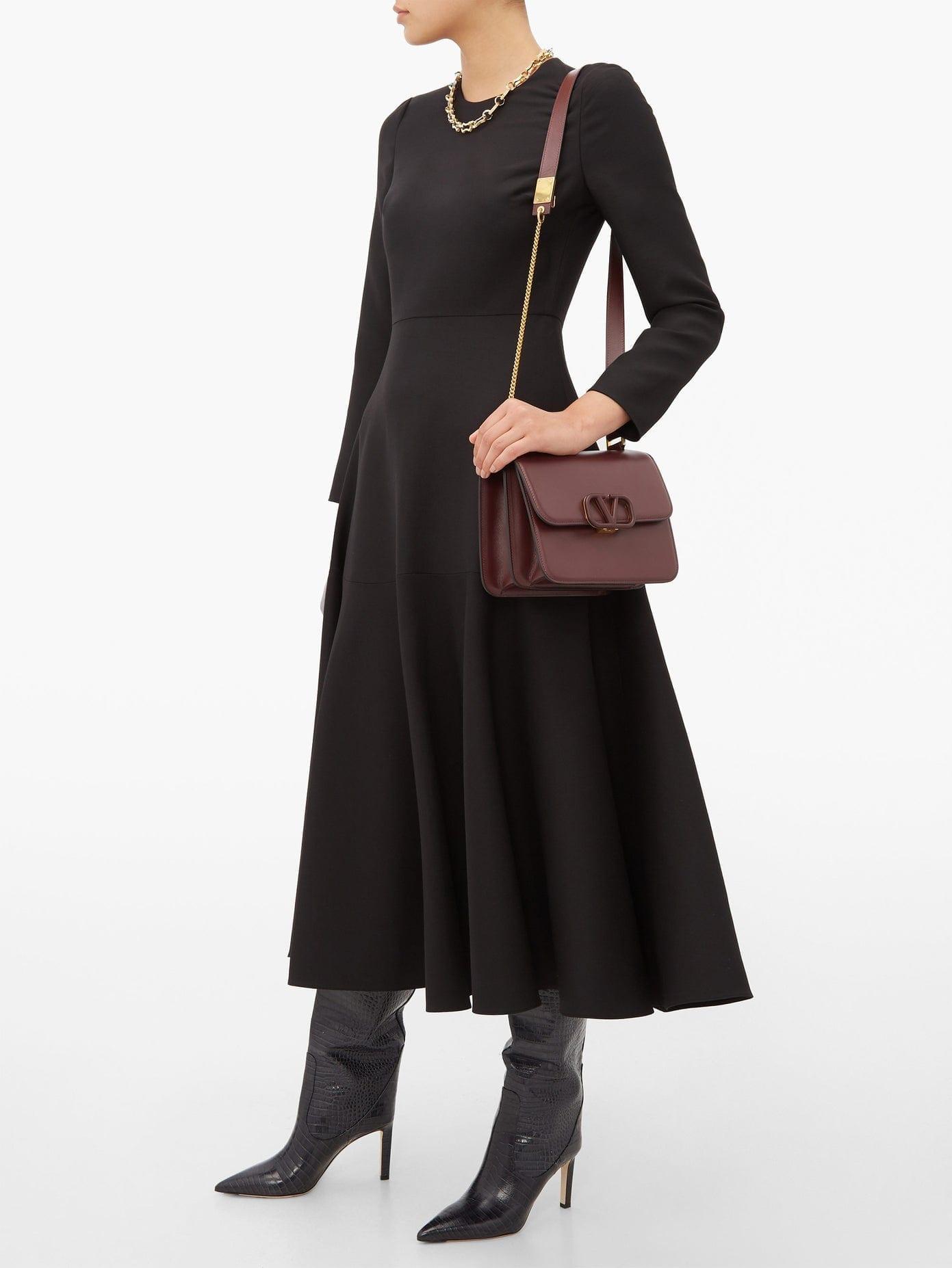 VALENTINO Wool-blend Midi Dress