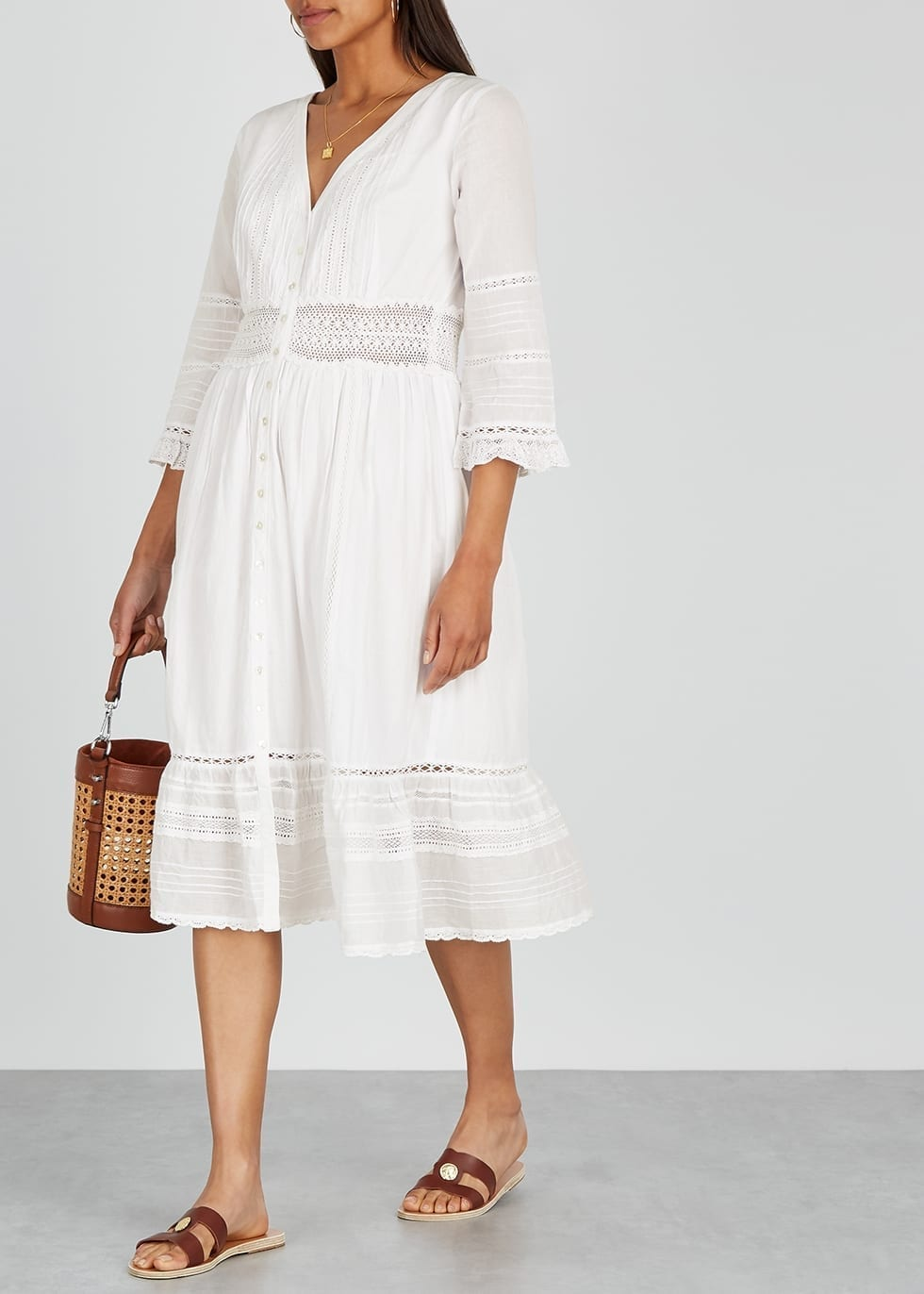 VELVET BY GRAHAM & SPENCER Angi Lace-trimmed Cotton Midi Dress