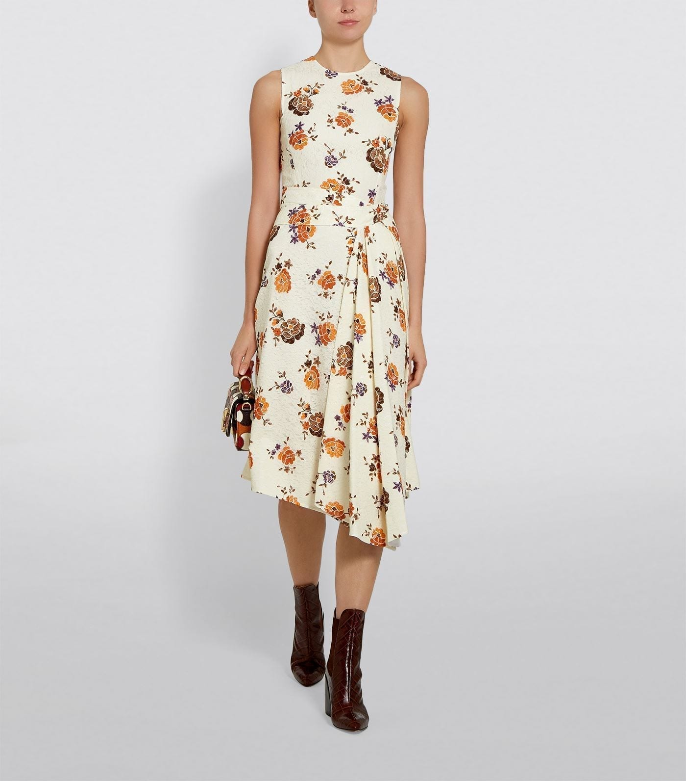 VICTORIA BECKHAM Floral Asymmetric Pleat Dress