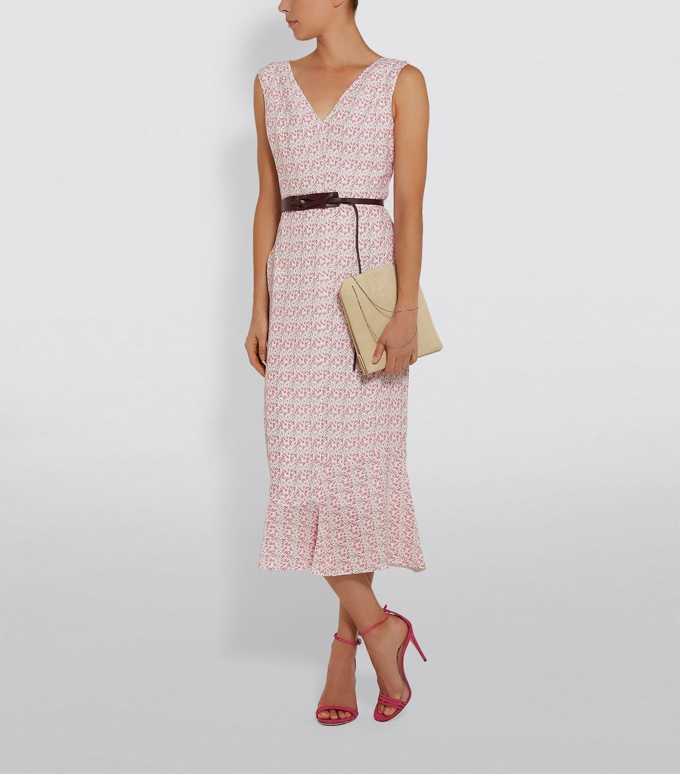 VICTORIA BECKHAM Ruffle Hem Belted Midi Dress