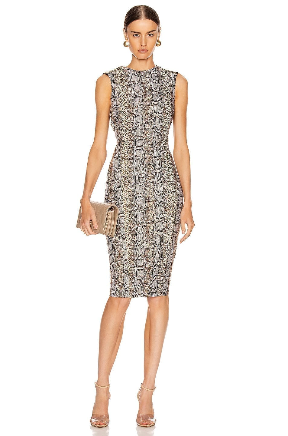 VICTORIA BECKHAM Sleeveless Twist Back Fitted Dress