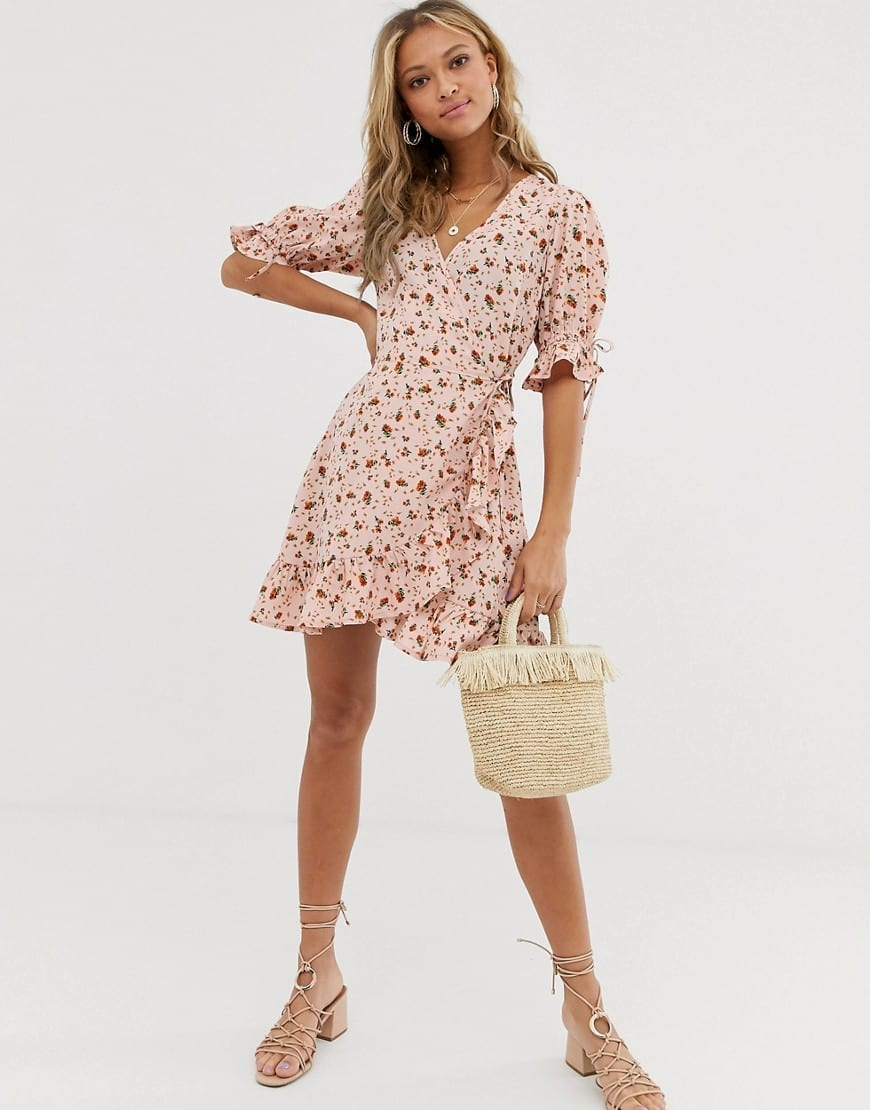 WEDNESDAY'S GIRL Tie Sleeve Wrap Mini Dress