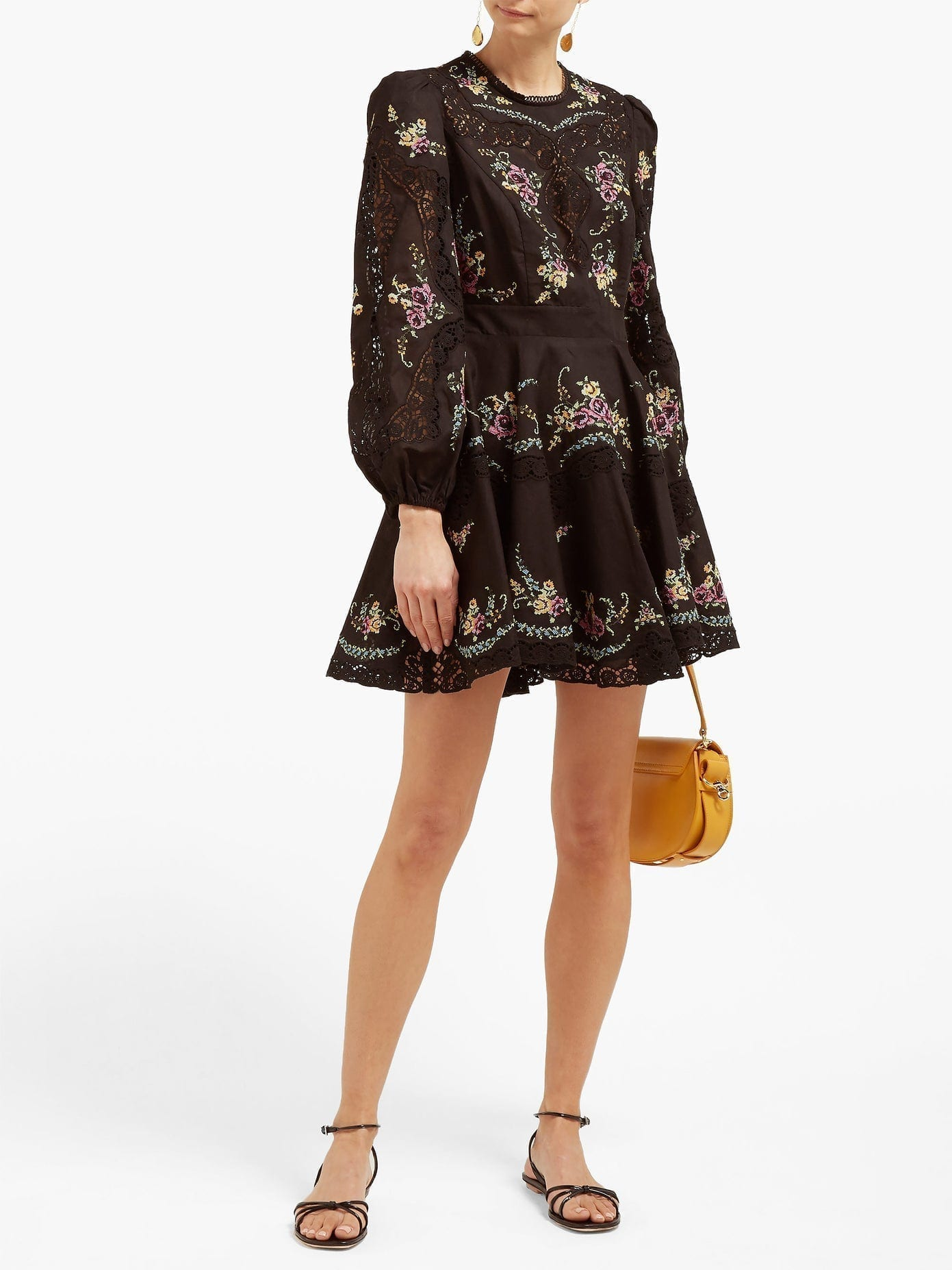 ZIMMERMANN Allia Floral Cross-stitch Linen-blend Mini Dress