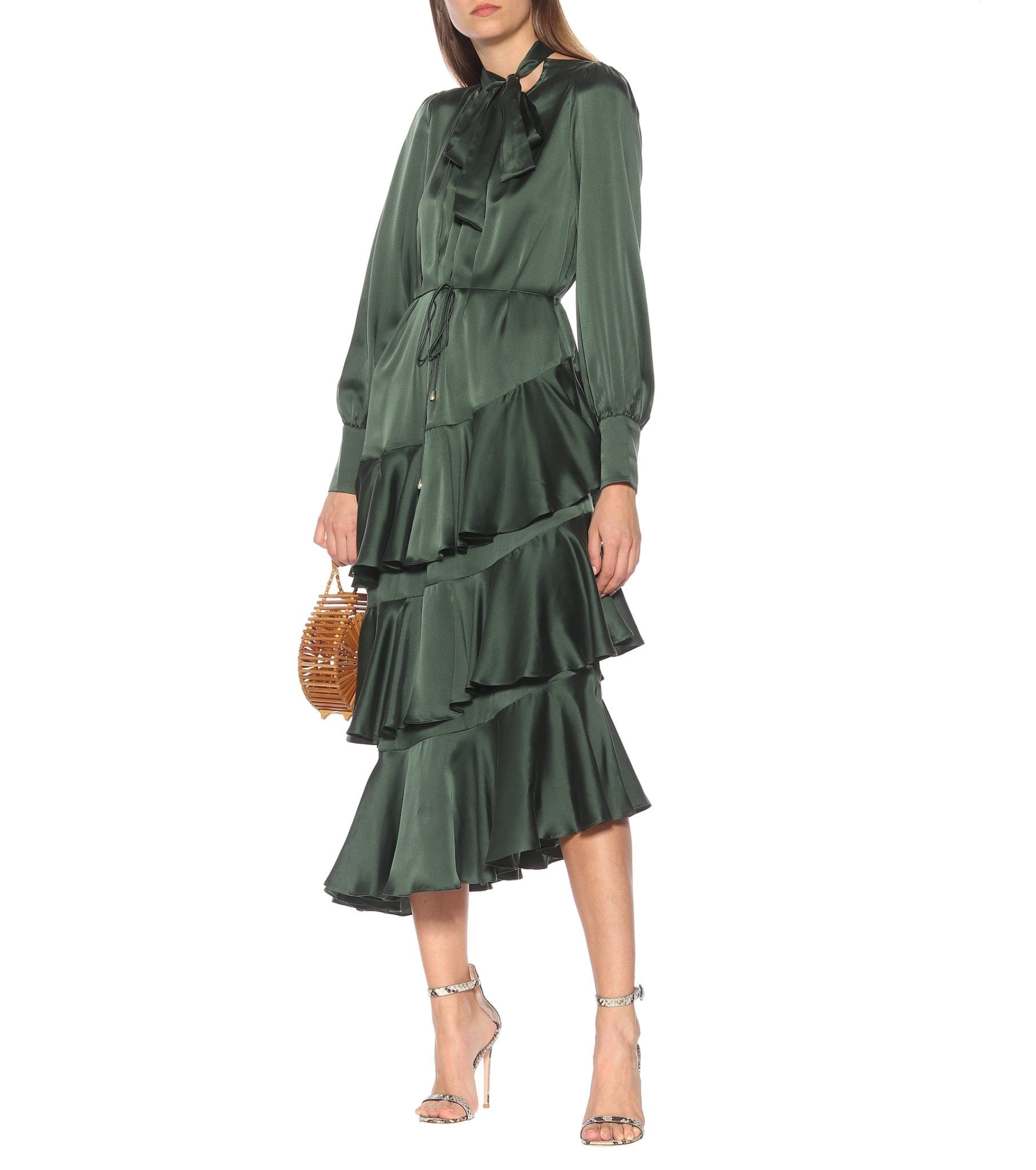 ZIMMERMANN Espionage Flounce Silk Midi Dress