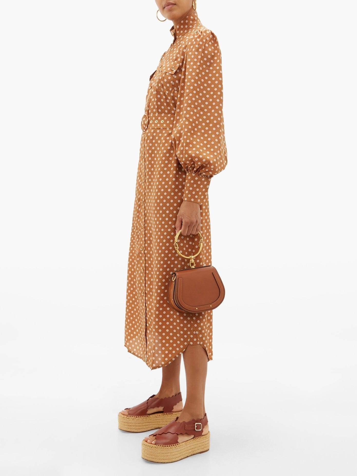 ZIMMERMANN Espionage Polka-dot Silk Shirt Dress