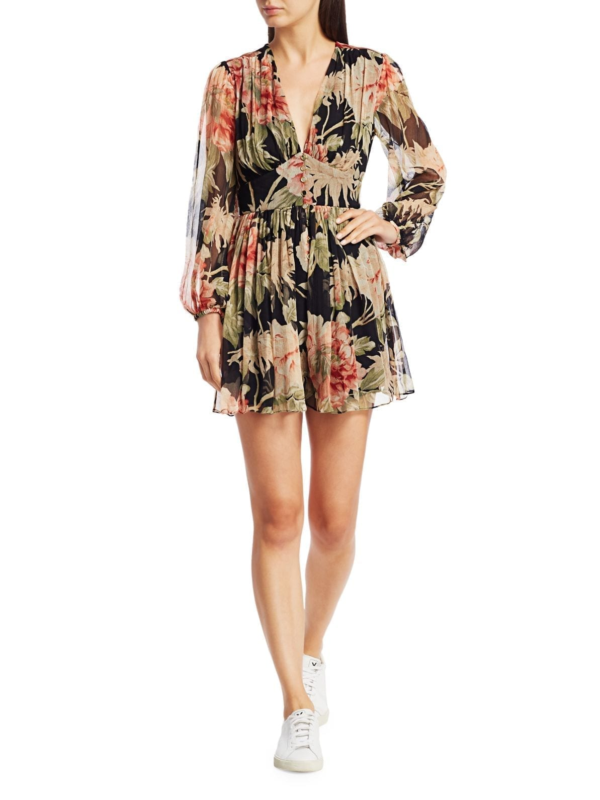 ZIMMERMANN Eye Spy Floral Puff-Sleeve Mini A-Line Dress
