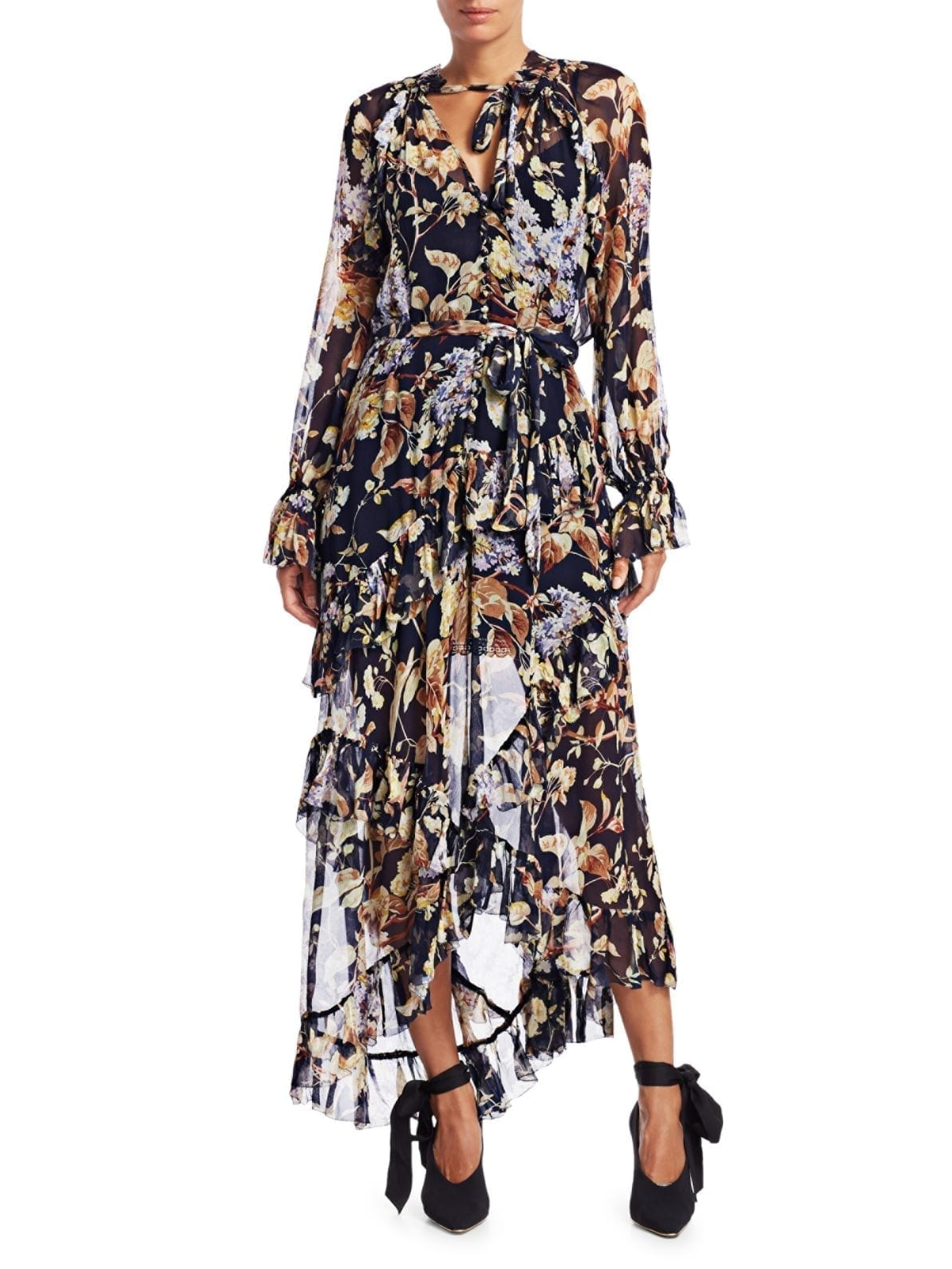 ZIMMERMANN Eye Spy Floral Silk Poet-Sleeve Dress