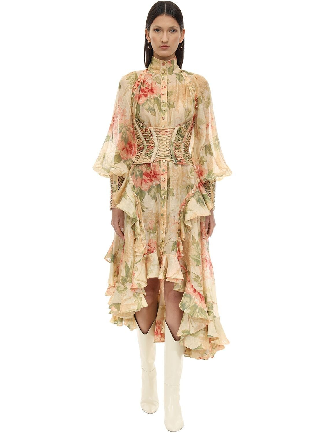 ZIMMERMANN Floral Printed Corset Midi Dress