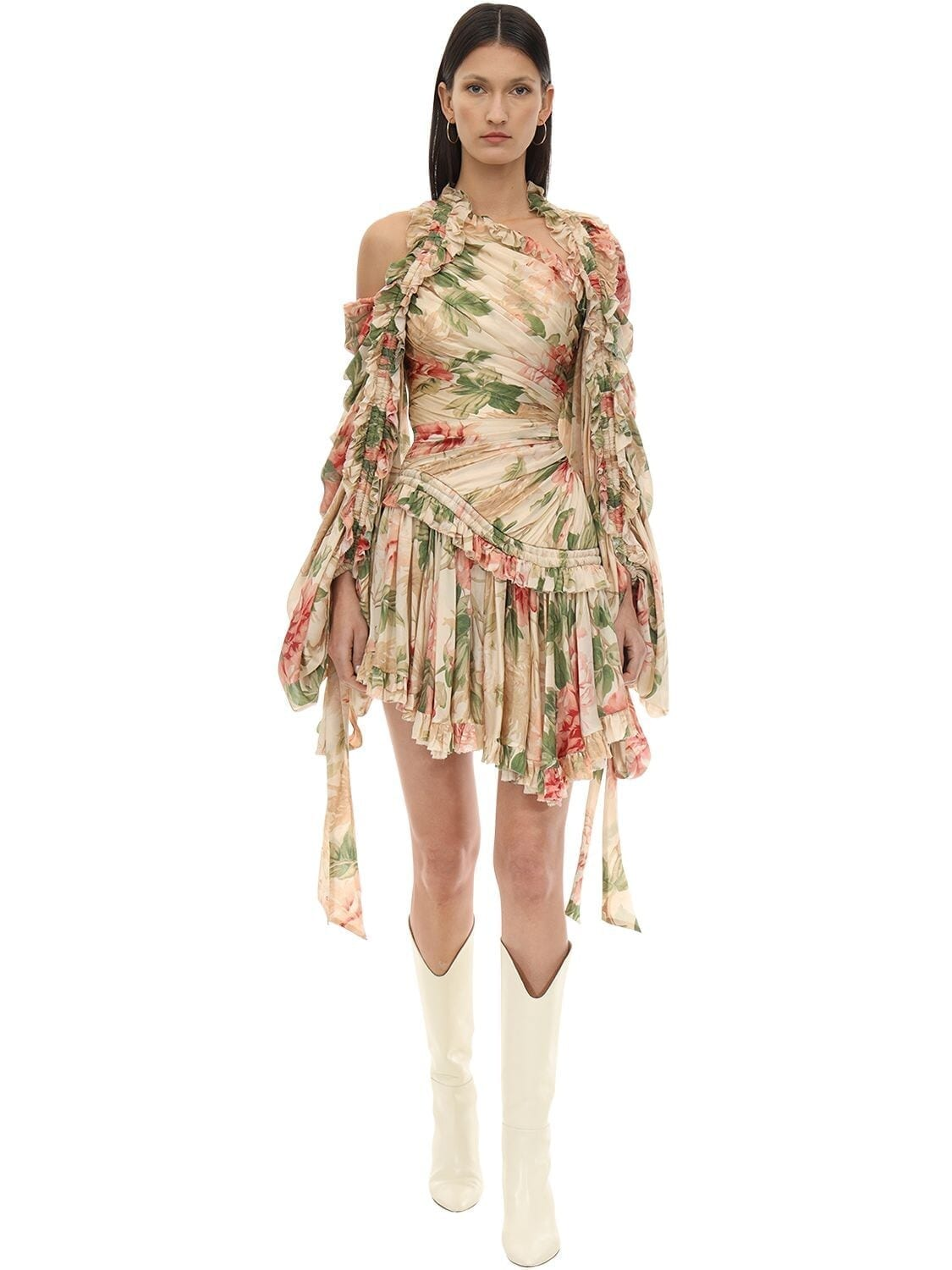 ZIMMERMANN Floral Printed Crepe De Chine Mini Dress