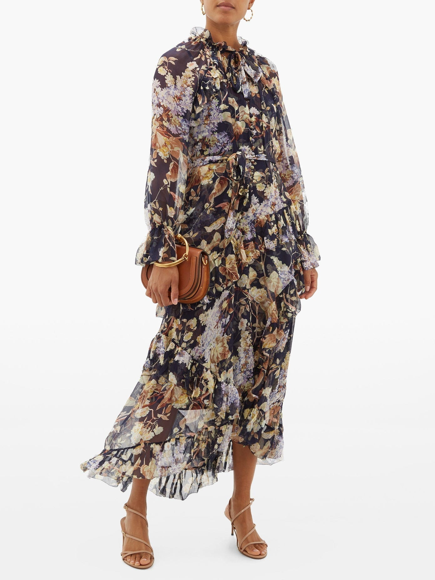 ZIMMERMANN Sabotage Floral-print Silk-chiffon Midi Dress