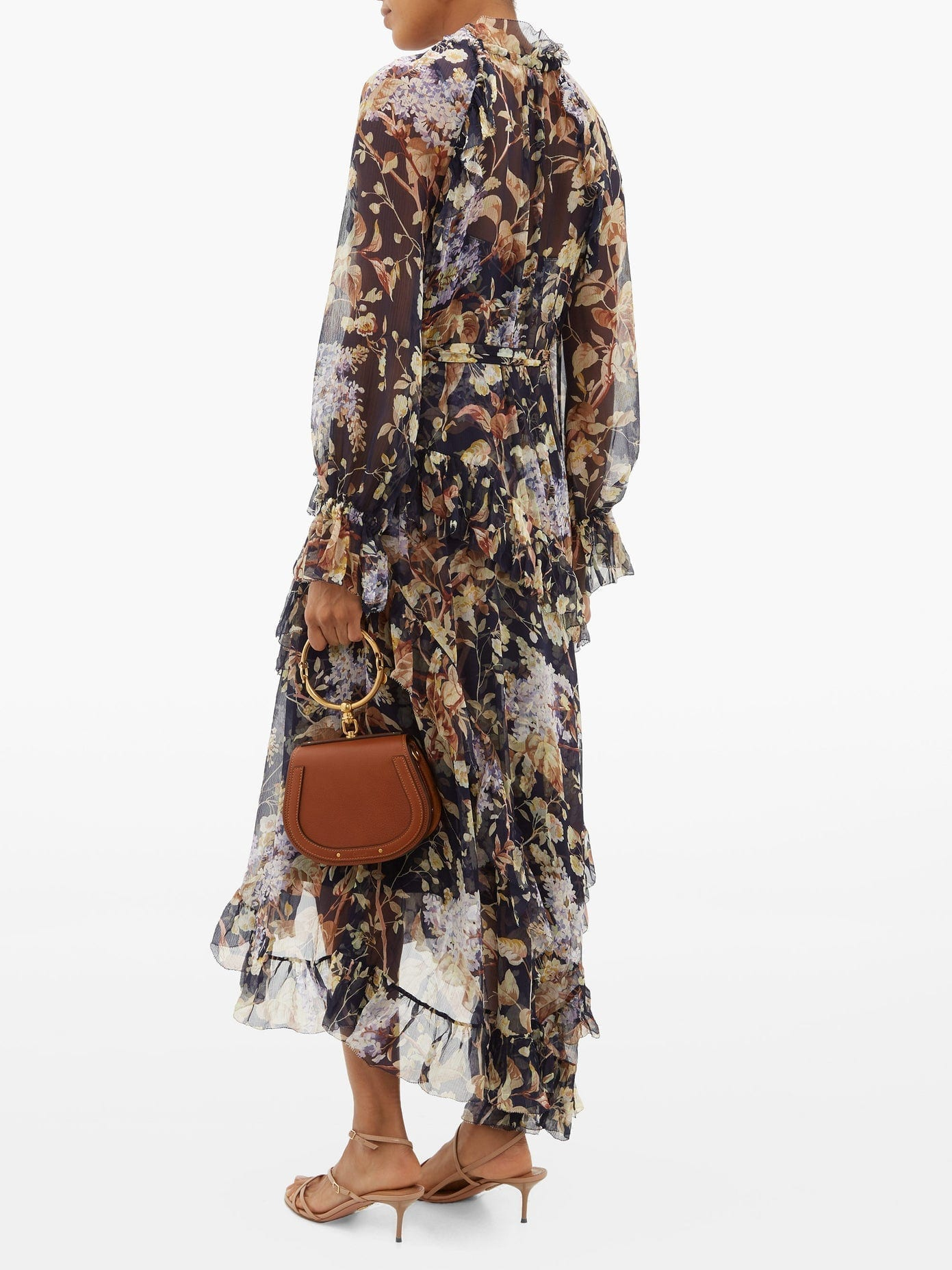 Zimmermann Sabotage Floral Print Silk Chiffon Midi Dress