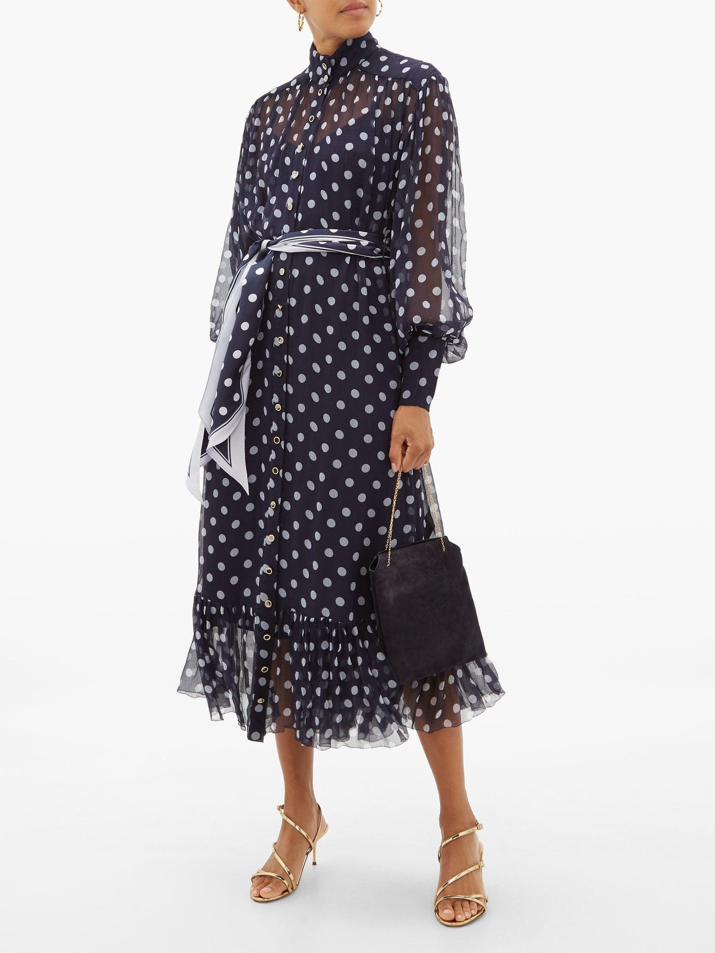 ZIMMERMANN Sabotage Lantern Belted Polka-dot Silk Midi Dress