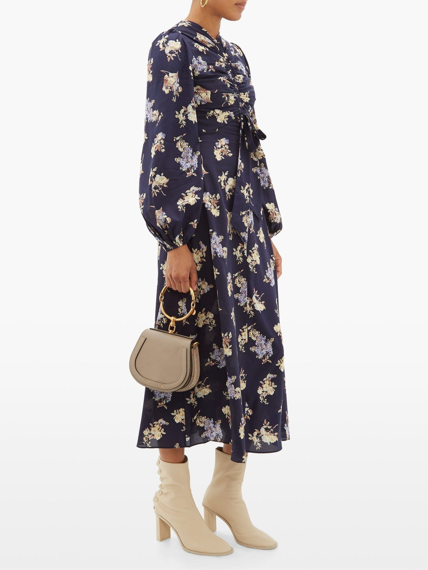 ZIMMERMANN Sabotage Ruched Floral-print Silk-blend Midi Dress