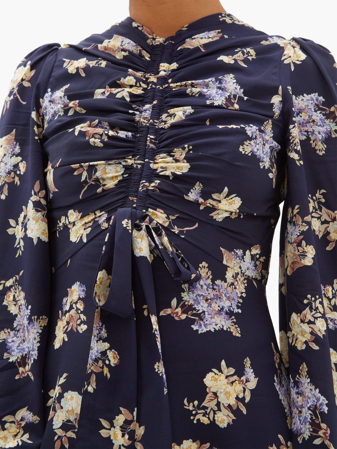 Zimmermann Sabotage Ruched Floral Print Silk Blend Midi