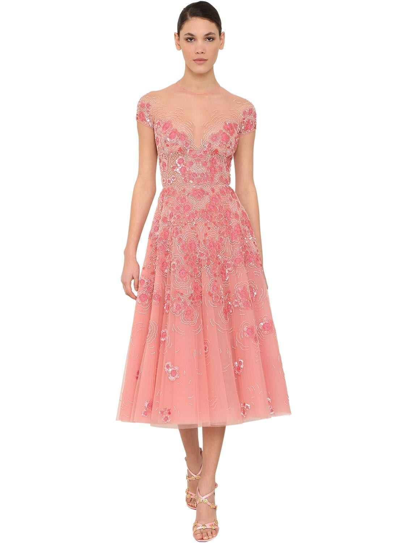 ZUHAIR MURAD Vintage Blossom Silk Chiffon Dress
