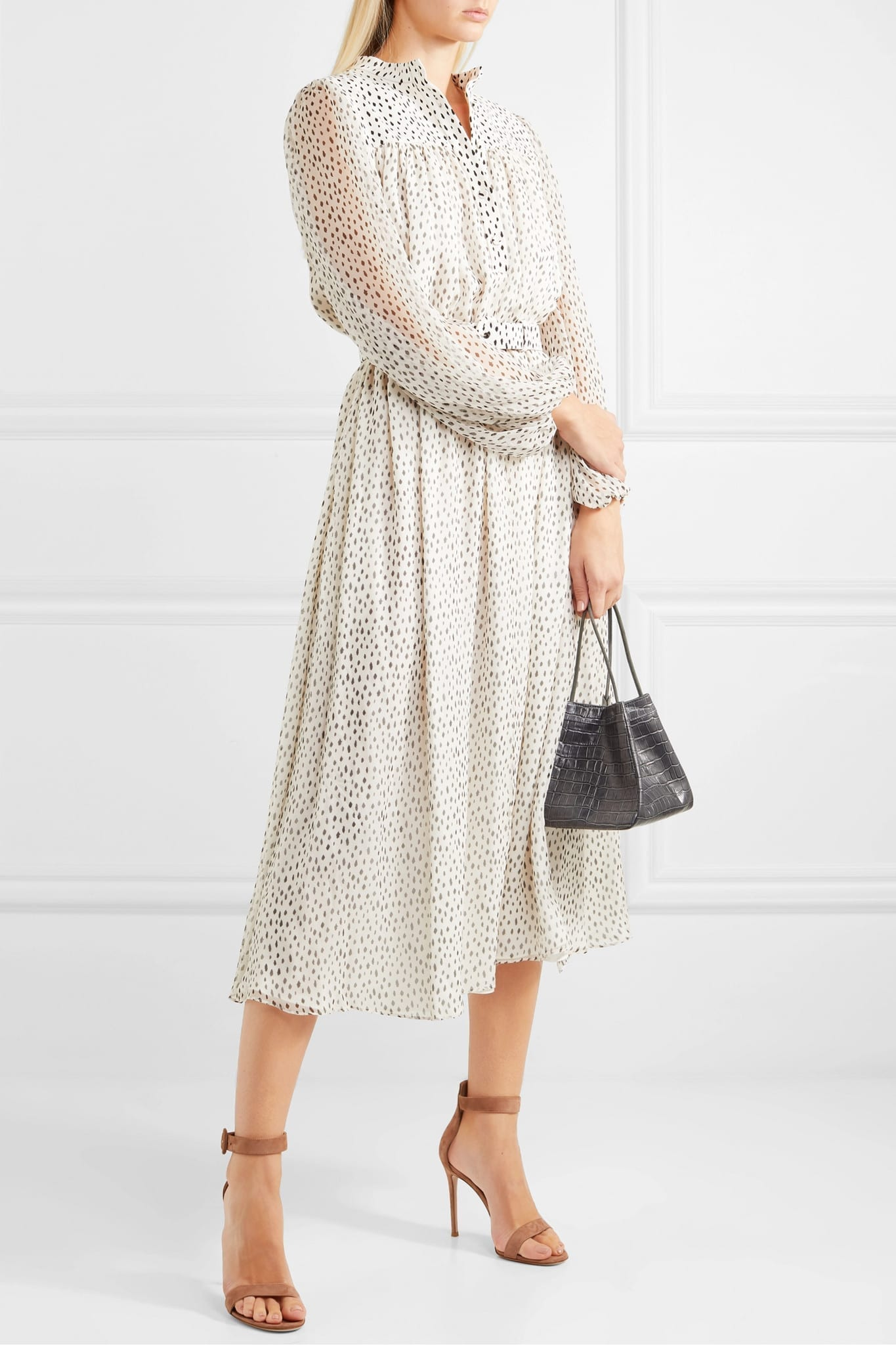 ADAM LIPPES Gathered Printed Silk-chiffon Midi Dress