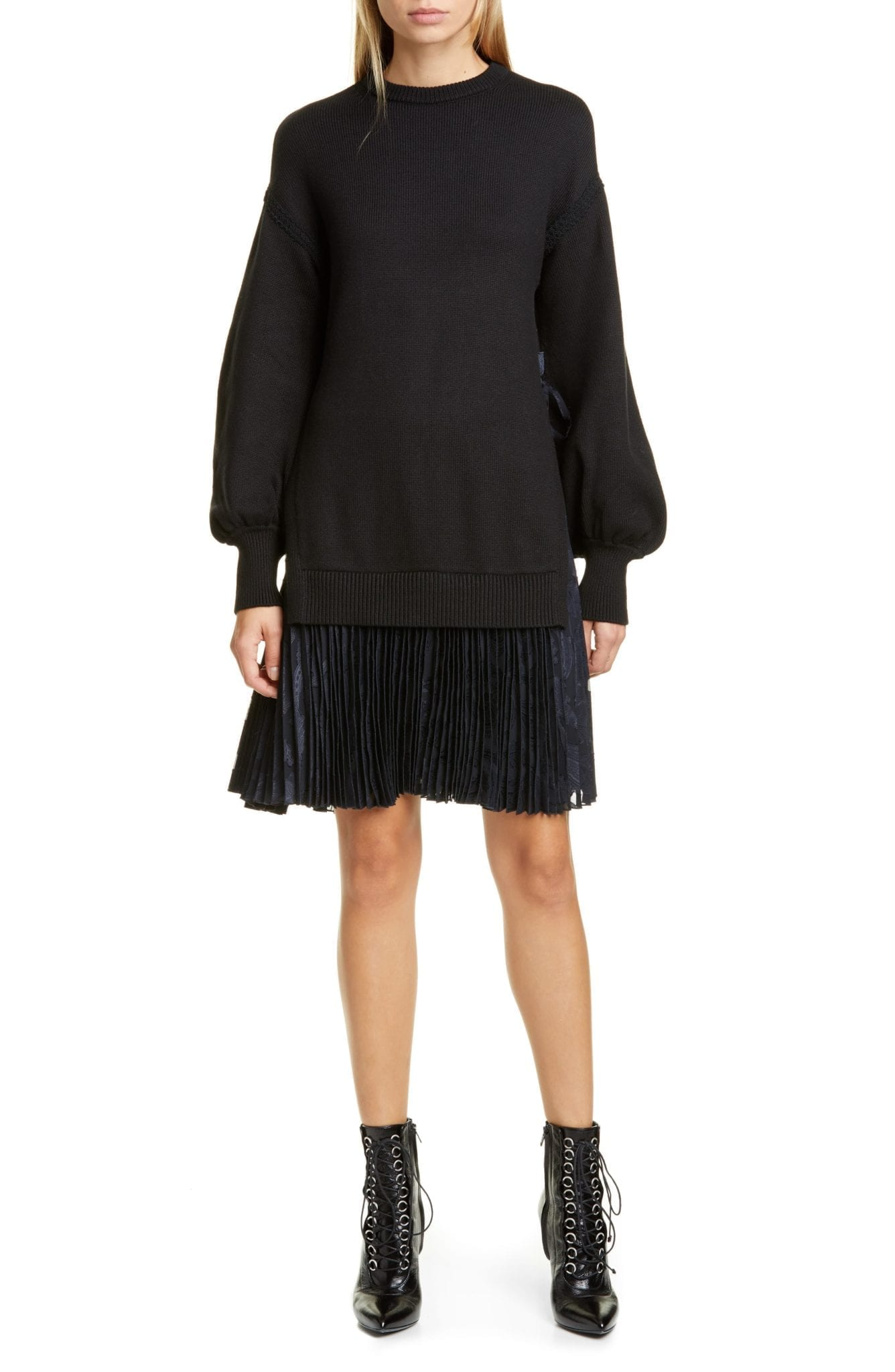 ADEAM Pleated Hem Long Sleeve Sweater Dress