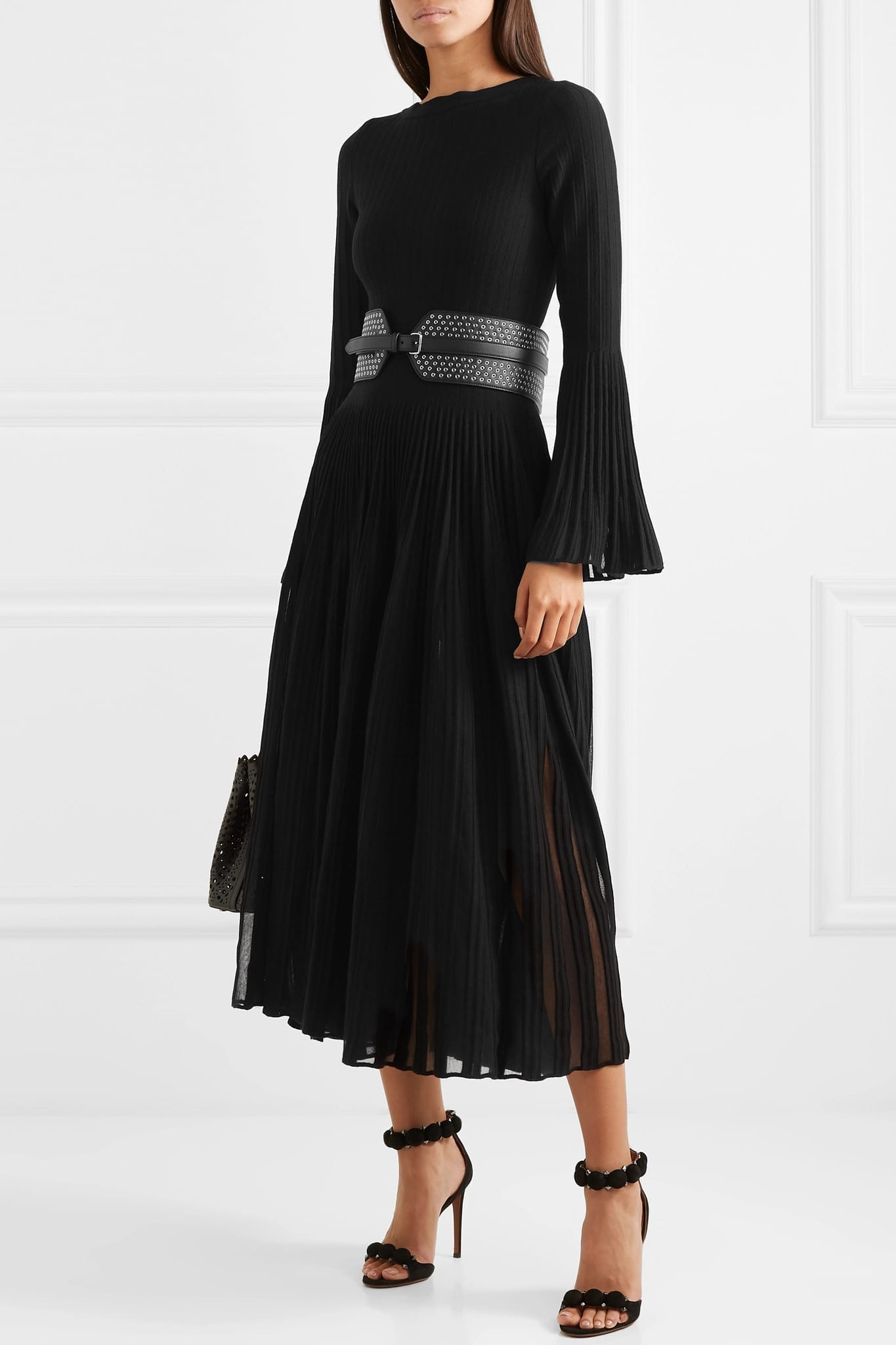 ALAÏA Ribbed Wool-blend Maxi Dress