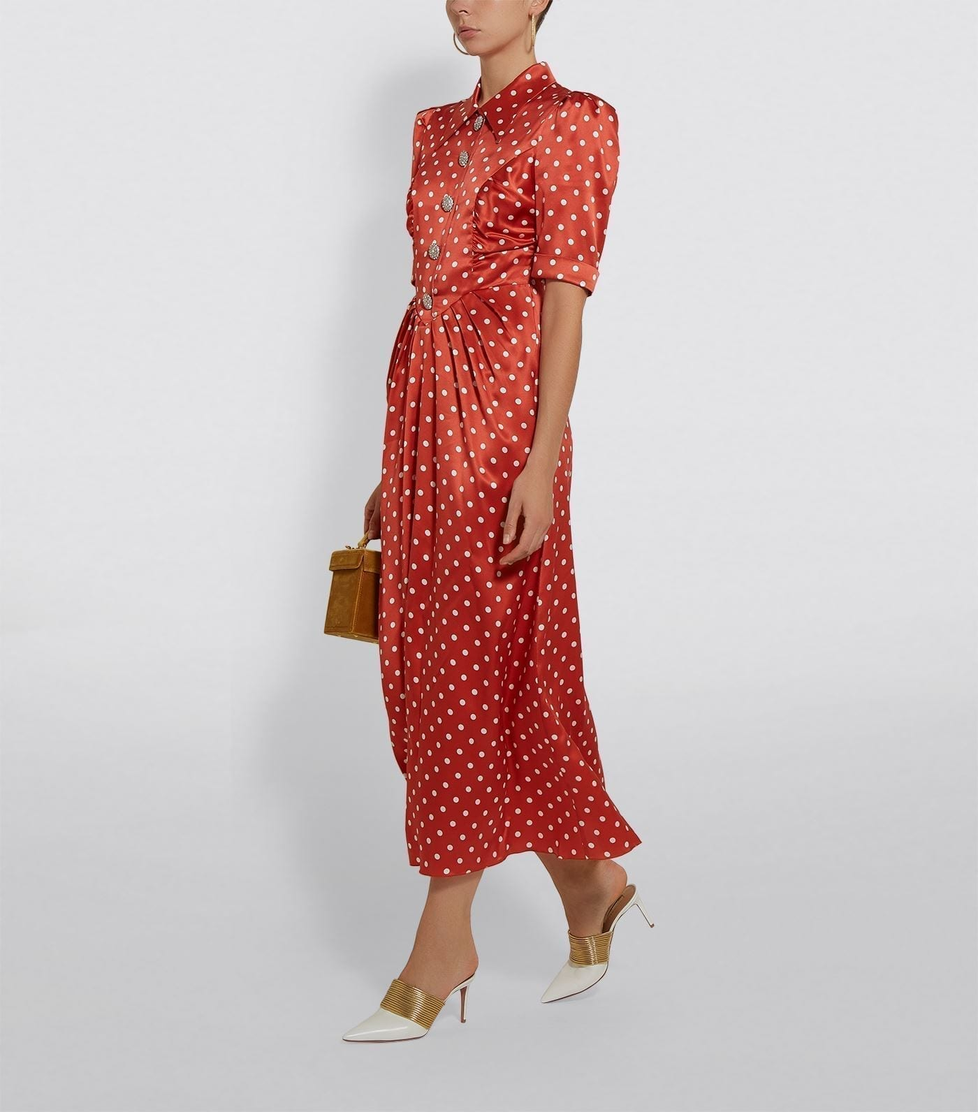 ALESSANDRA RICH Silk Polka Dot Midi Dress