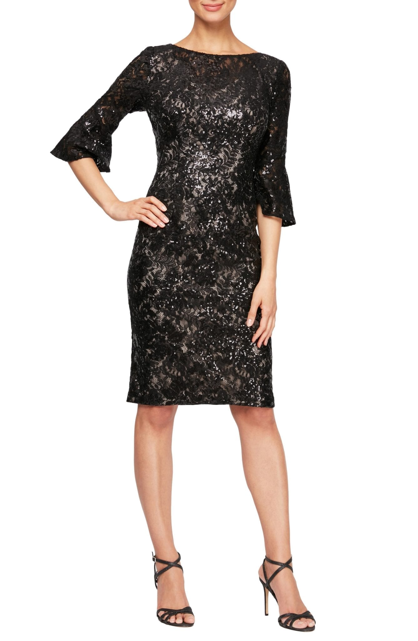 ALEX EVENINGS Embellished Lace Shift Dress