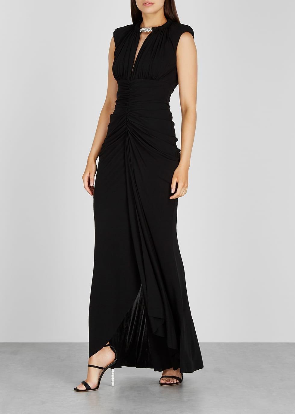 ALEXANDER MCQUEEN Black Crystal-embellished Jersey Gown