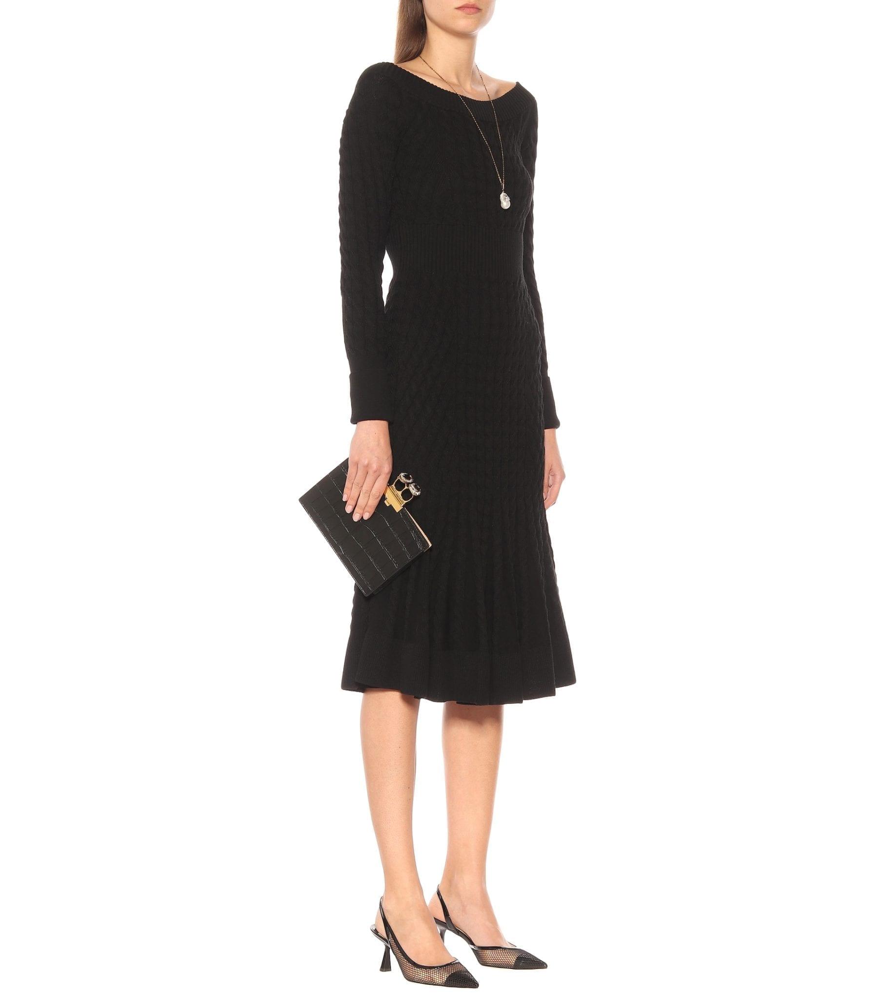 ALEXANDER MCQUEEN Cable-knit Wool-blend Dress