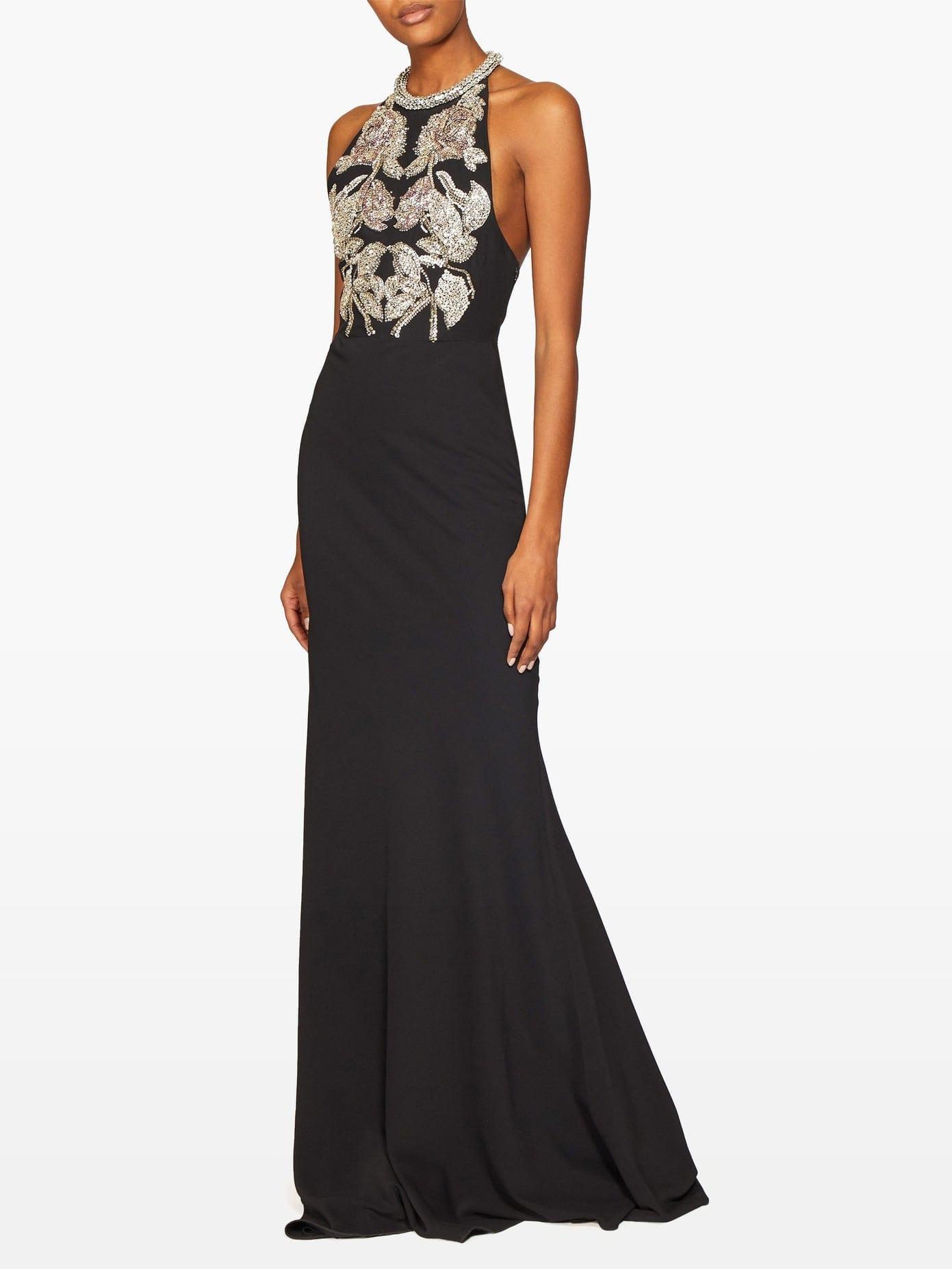 ALEXANDER MCQUEEN Crystal-embellished Halterneck Crepe Gown