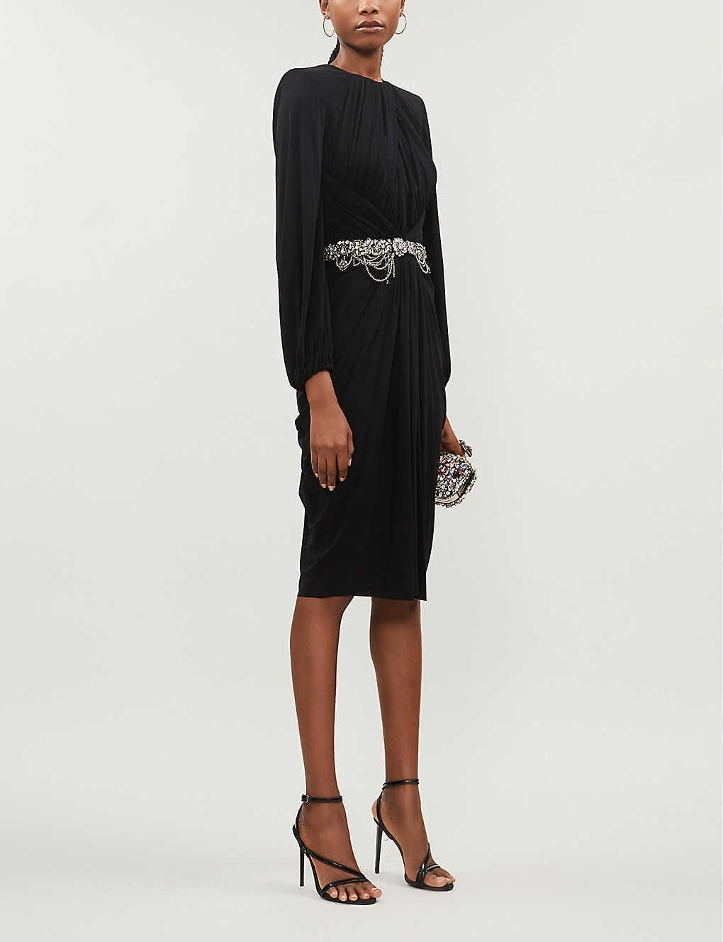 ALEXANDER MCQUEEN Draped Crystal-embellished Crepe Midi Dress