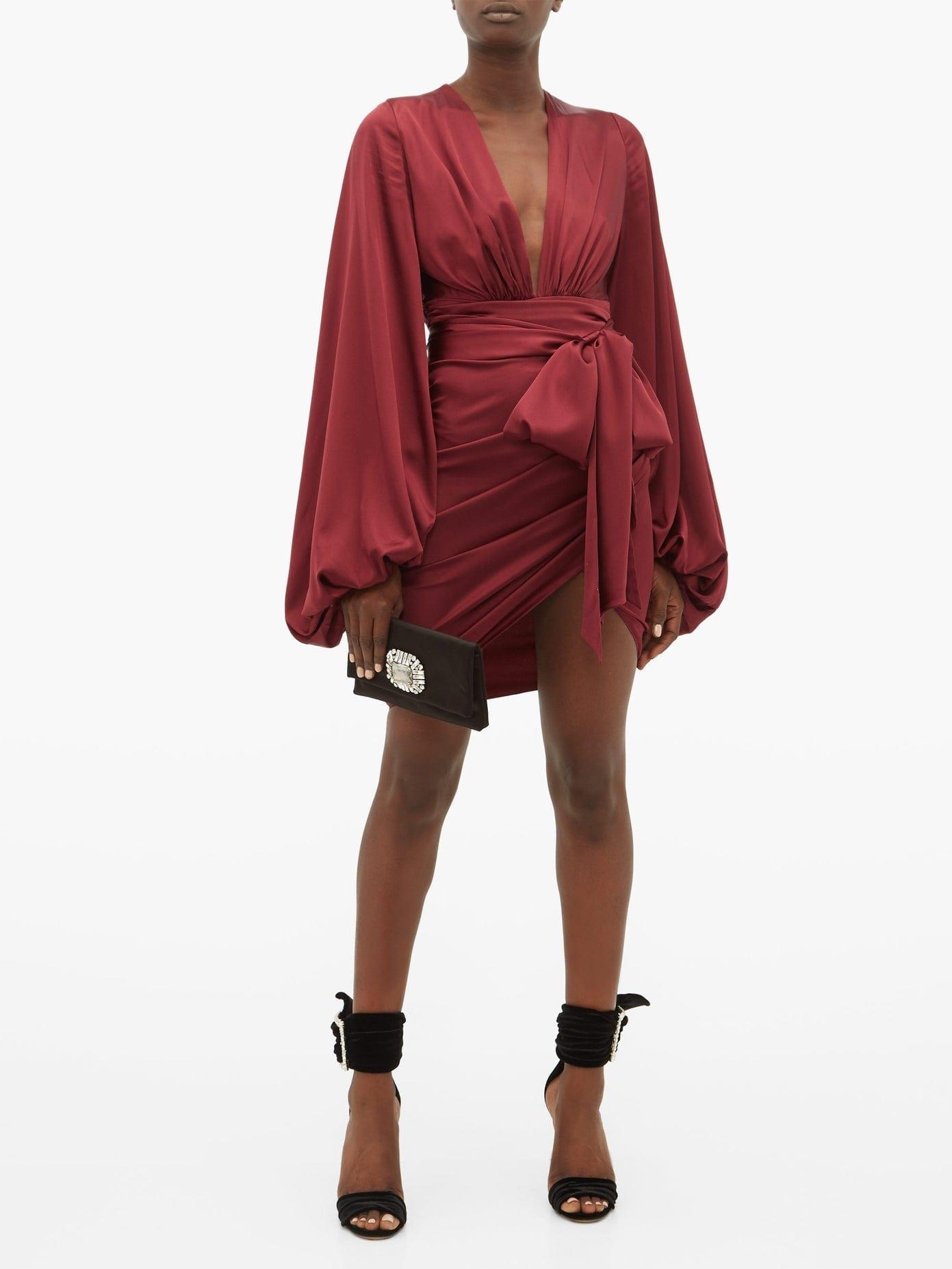 ALEXANDRE VAUTHIER Plunge-neck Ruched Silk-blend Satin Dress