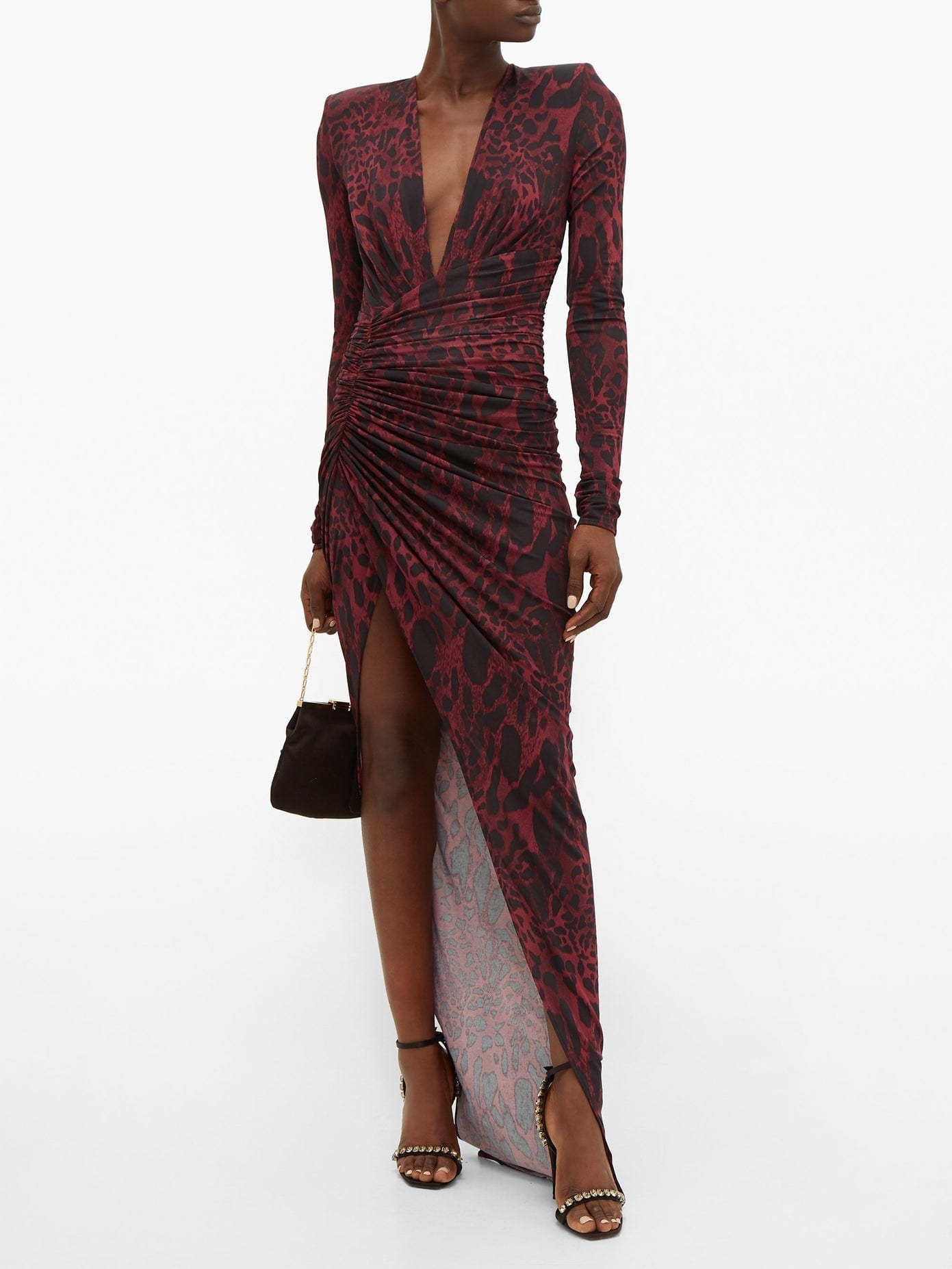 ALEXANDRE VAUTHIER Ruched Lynx-print Stretch-jersey Dress
