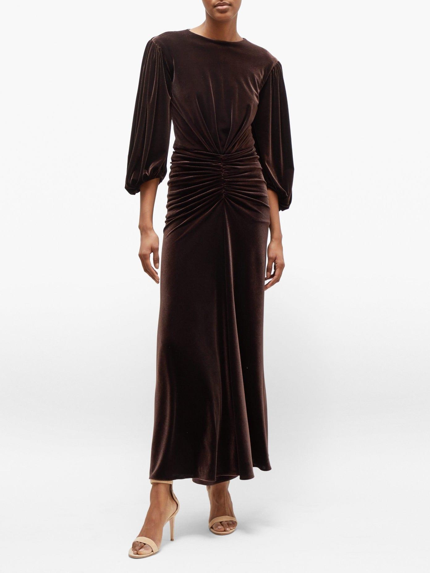 ALEXANDRE VAUTHIER Ruched-waist Velvet Dress