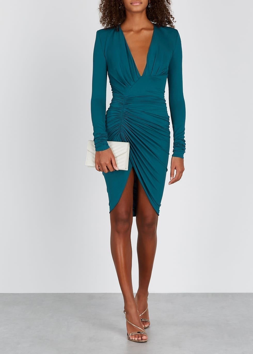 ALEXANDRE VAUTHIER Teal Ruched Mini Dress