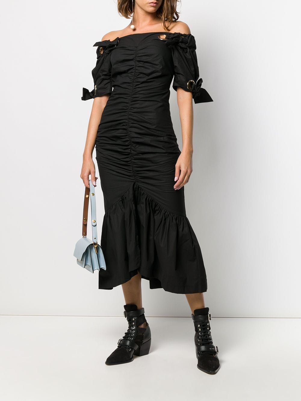 ALICE MCCALL Ruched Eyelet Midi Dress