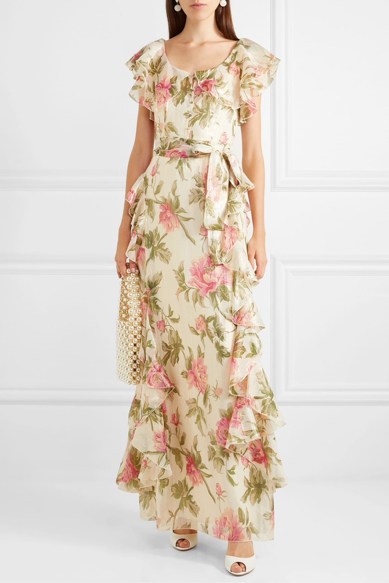 ALICE MCCALL Salvatore Ruffled Metallic Floral-print Chiffon Maxi Dress